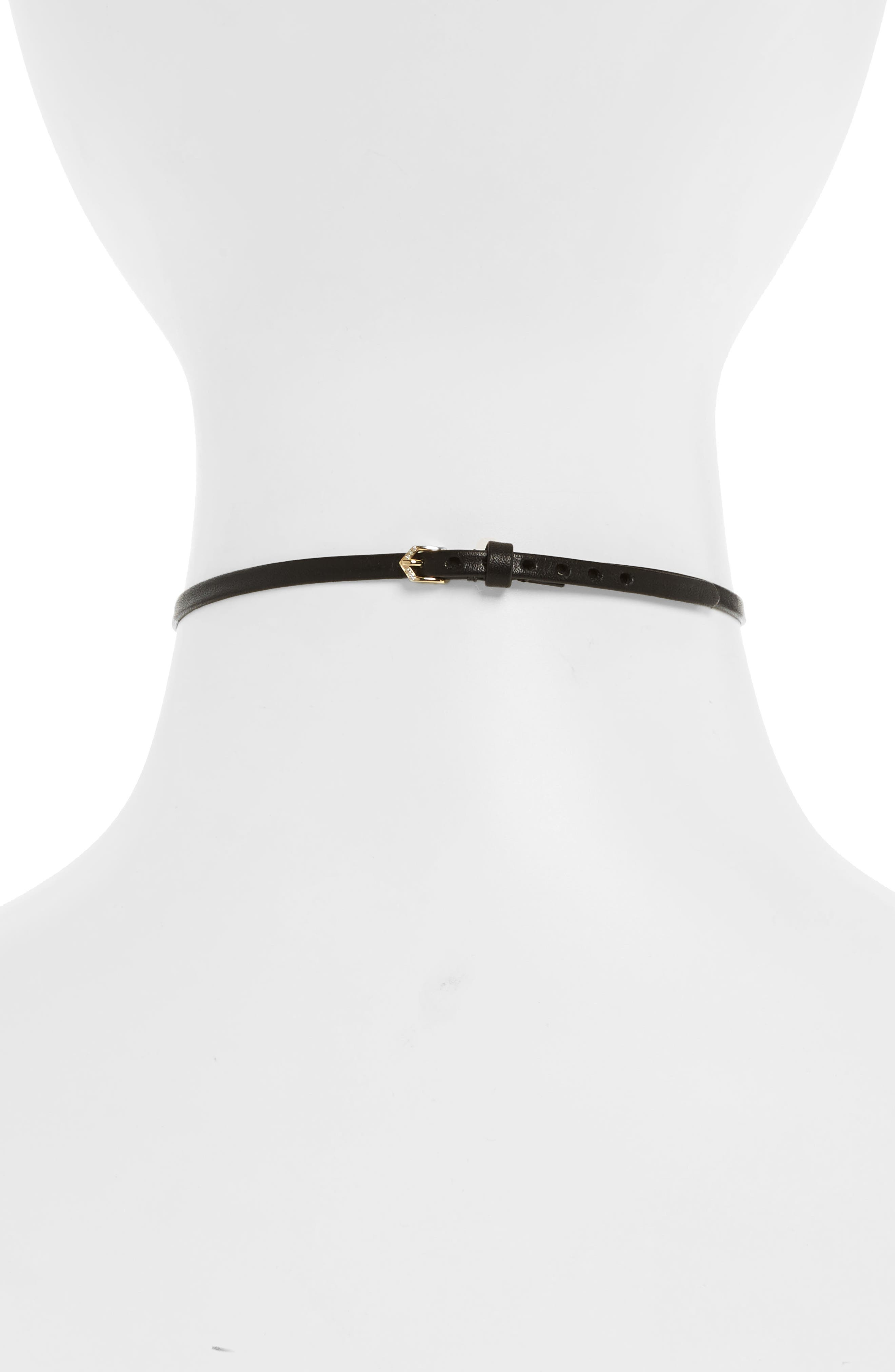 Diamond Leather Choker,                             Alternate thumbnail 2, color,                             Yellow Gold