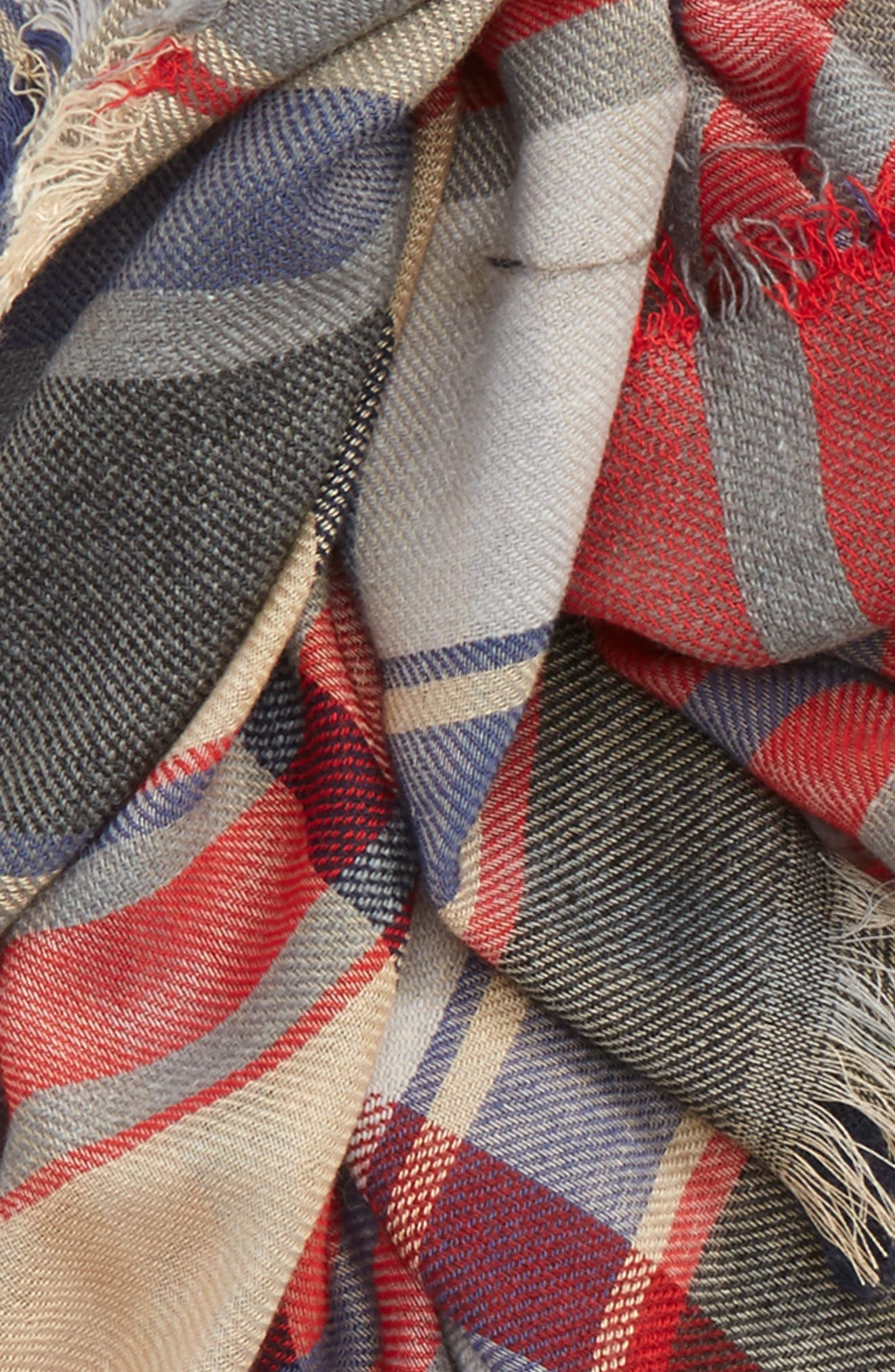 Plaid Oblong Scarf,                             Alternate thumbnail 3, color,                             Tan Multi