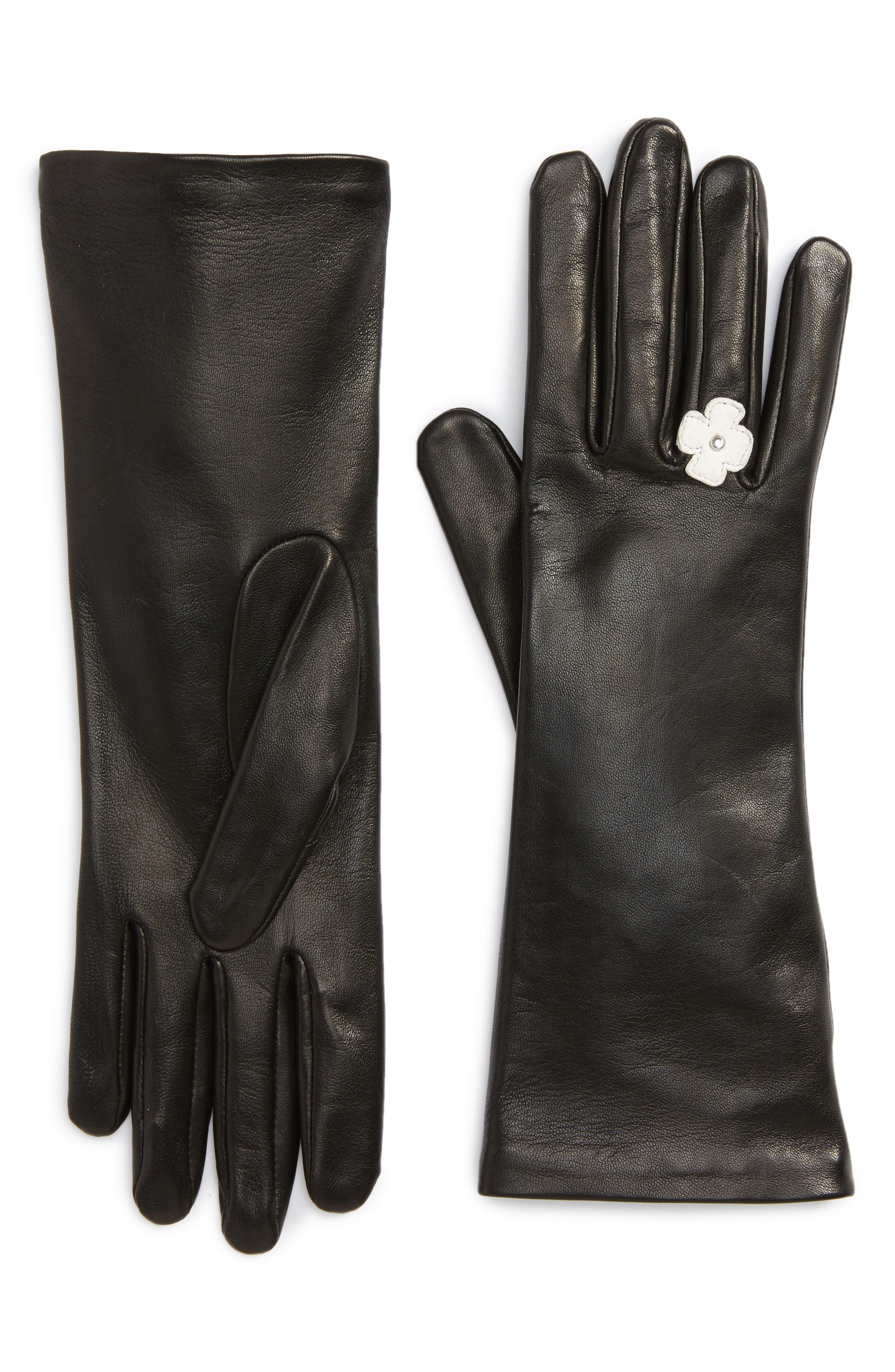 Lambskin Leather Gloves,                             Main thumbnail 1, color,                             Noir