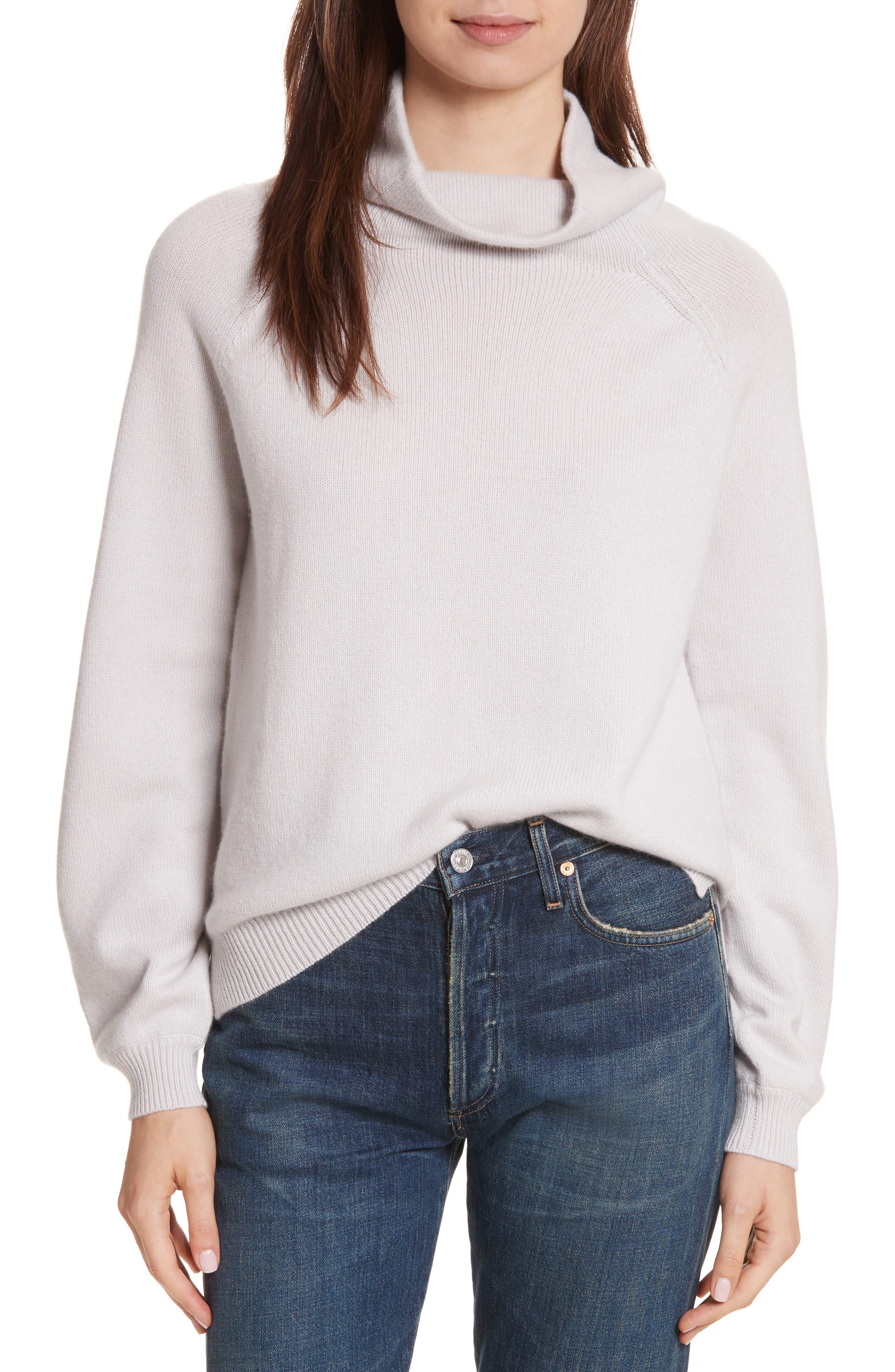 Balloon Sleeve Cashmere Turtleneck Sweater,                         Main,                         color, Light Grey