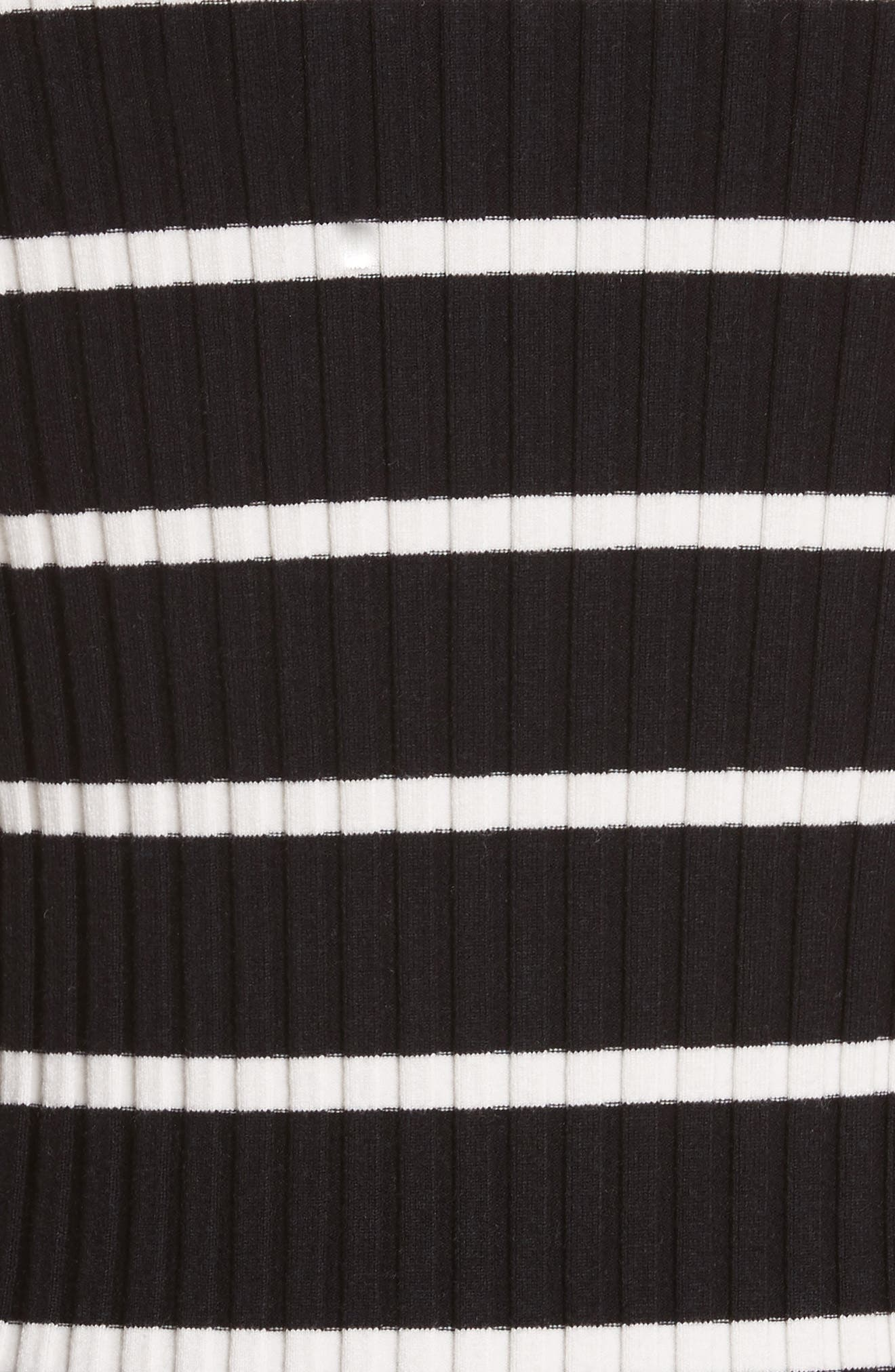 Stripe Knit Turtleneck Dress,                             Alternate thumbnail 5, color,                             Black With Ivory Stripe
