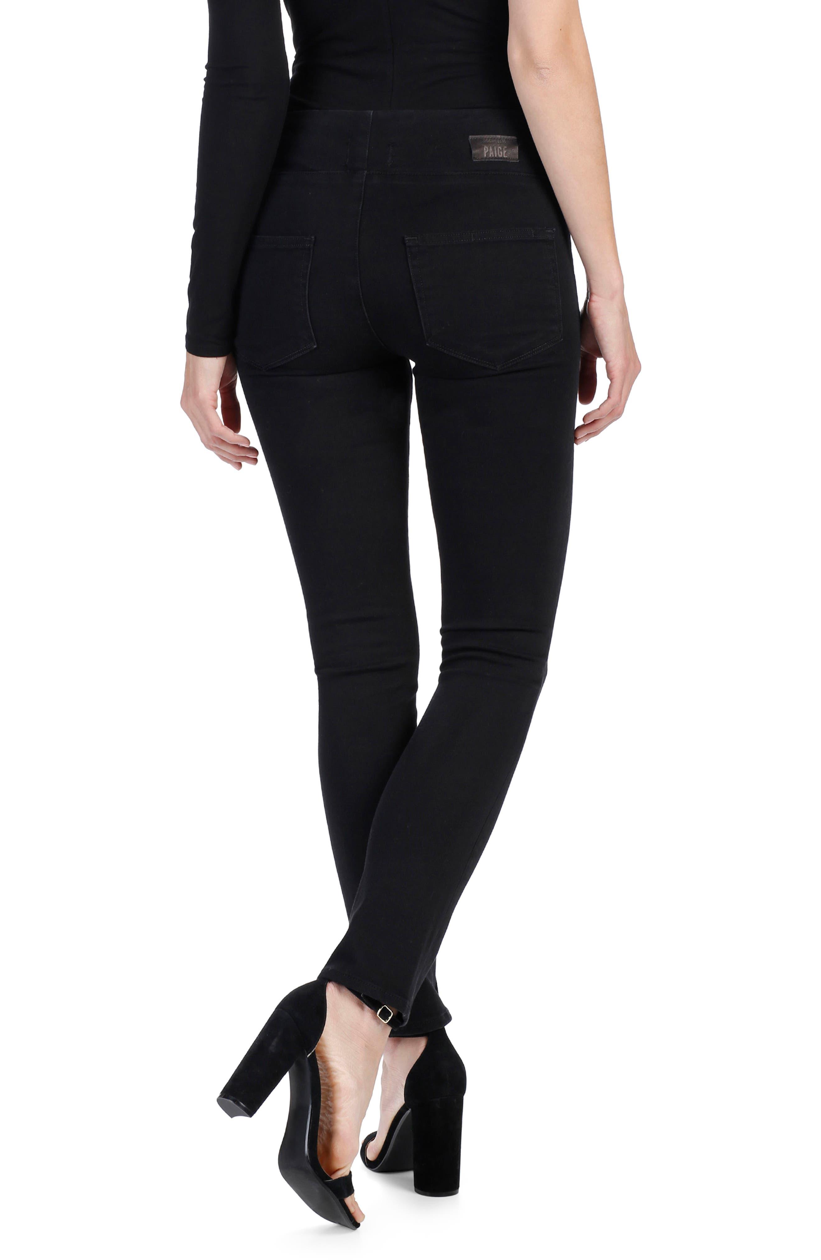 Rosie HW x PAIGE Ellery Skinny Jeans,                             Alternate thumbnail 3, color,                             Onyx