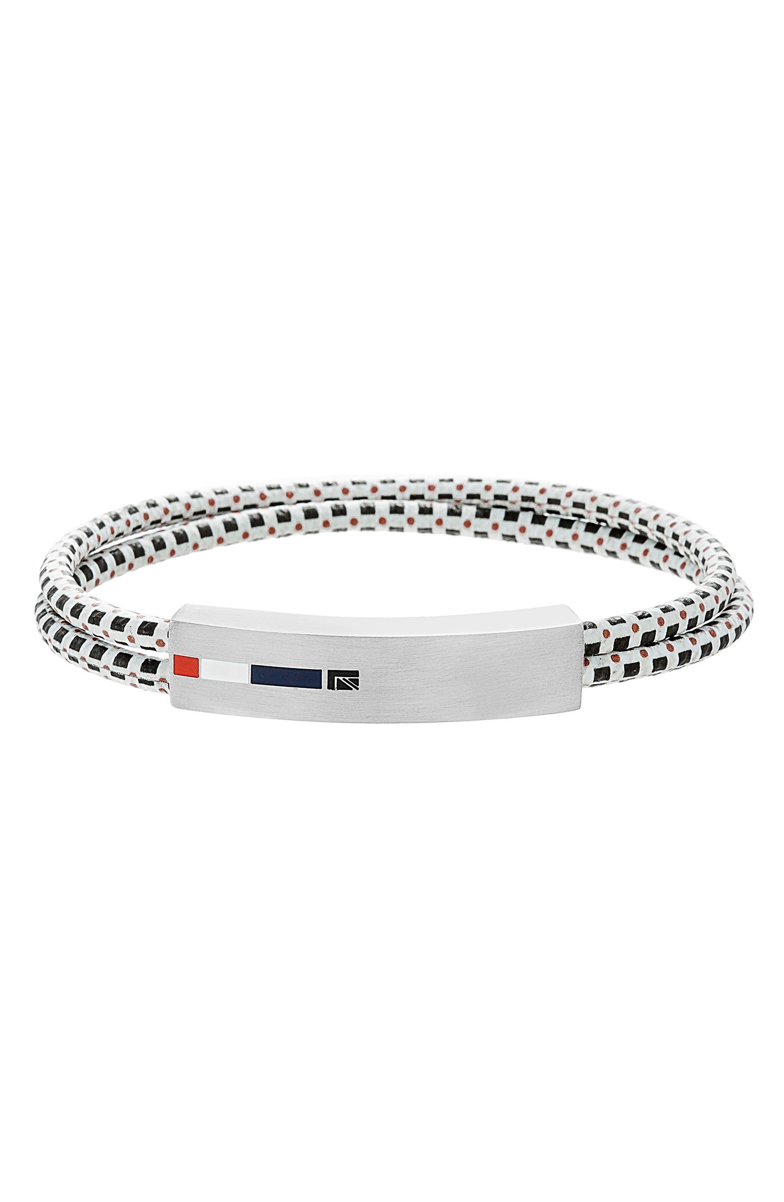 Double Cord Bracelet,                             Main thumbnail 1, color,                             Black/ Silver/ White