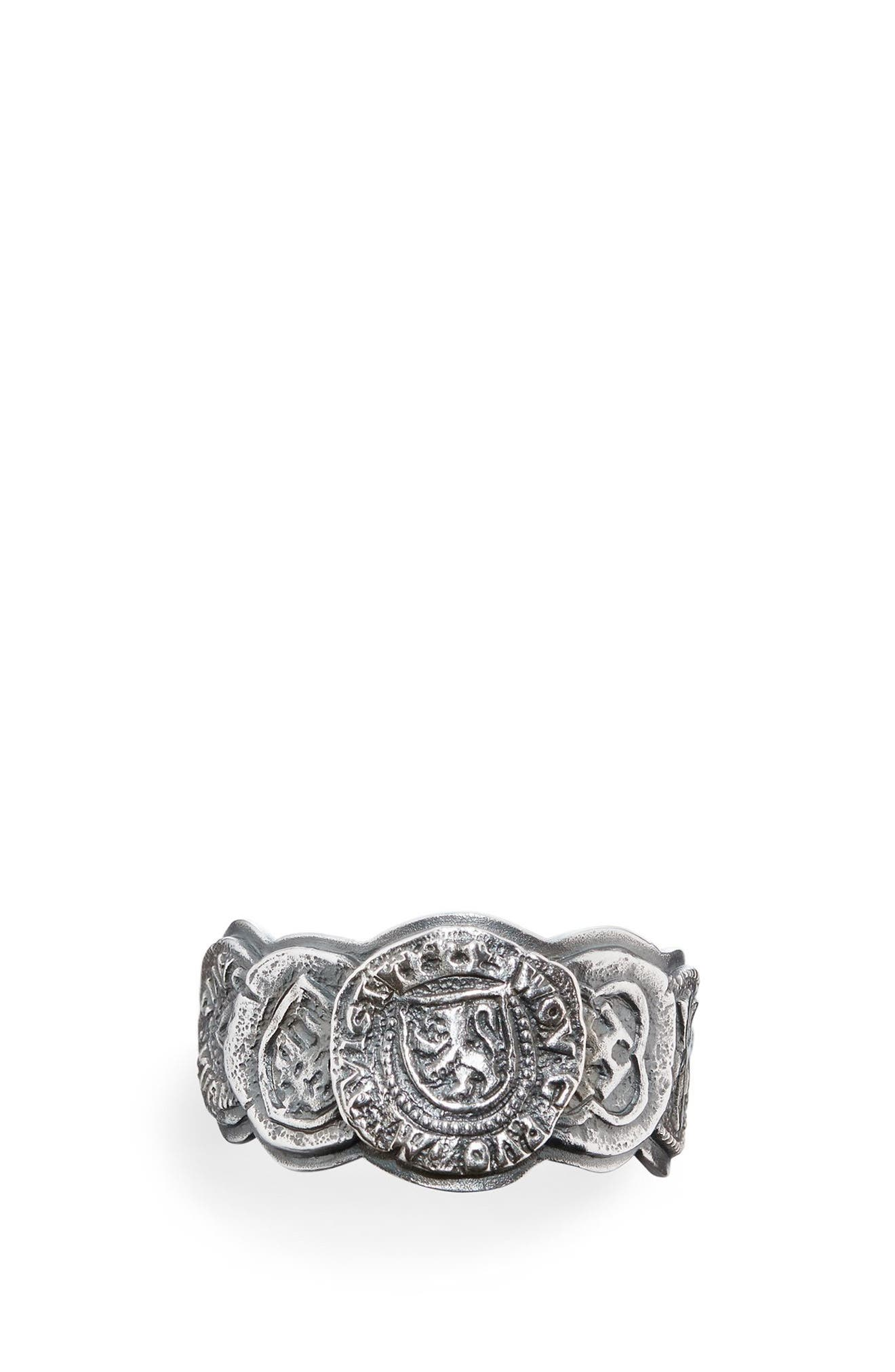 Shipwreck Coin Band Ring, 12mm,                             Alternate thumbnail 3, color,                             Silver