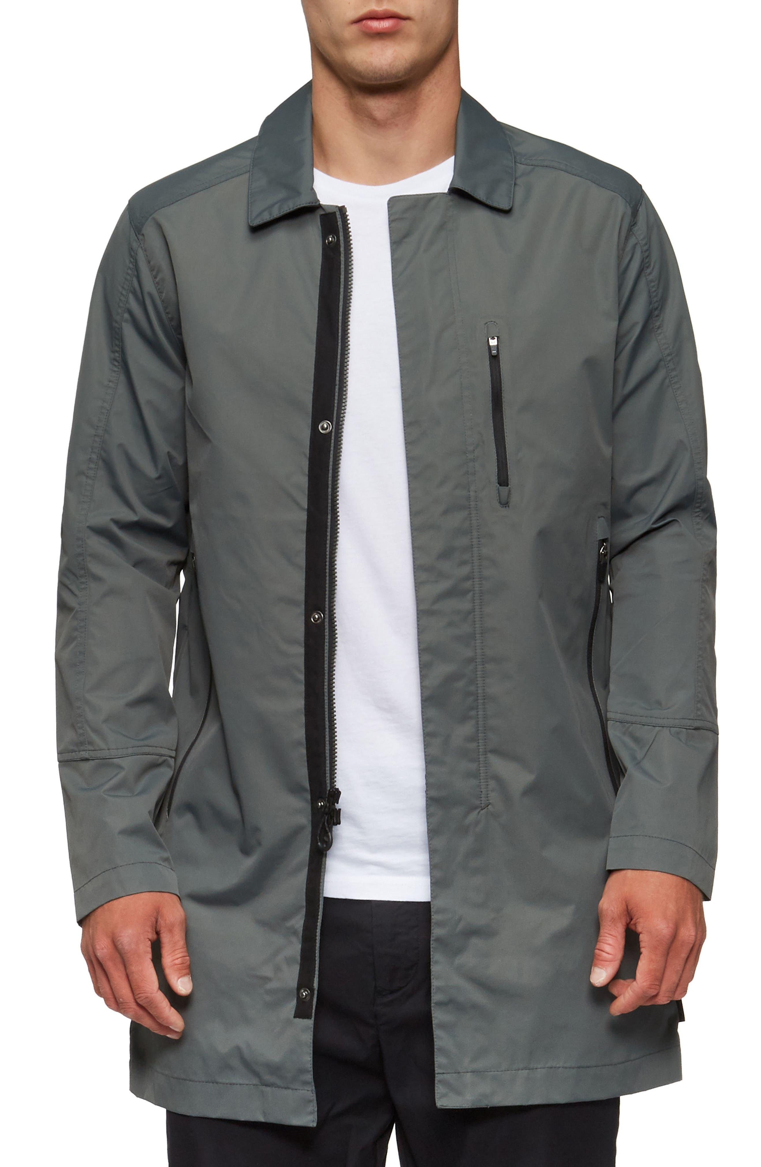 Deckard Weather Resistant Trench Coat,                             Alternate thumbnail 4, color,                             Surplus Green