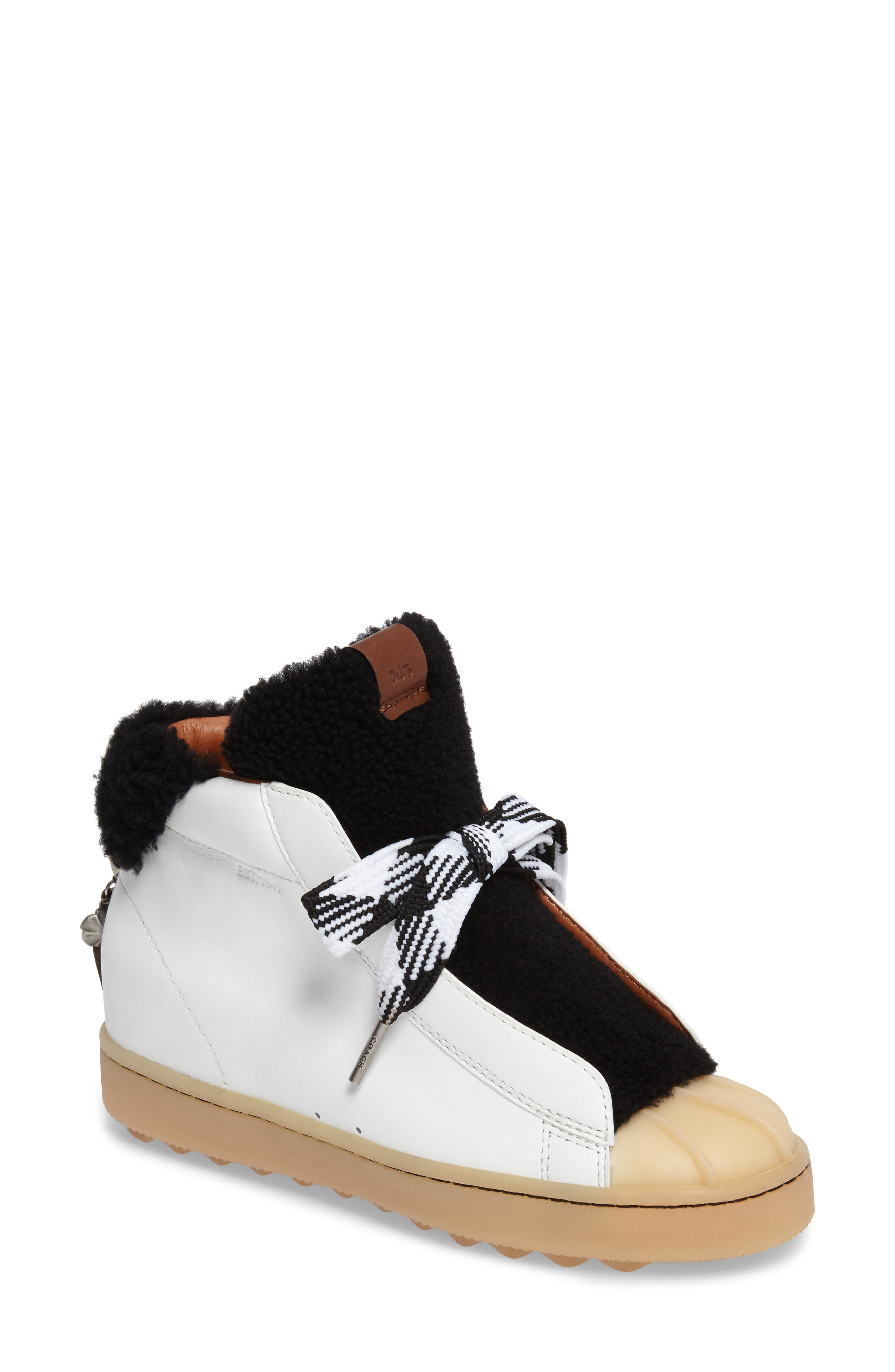 Genuine Shearling High Top Sneaker,                         Main,                         color, Black/ White Suede