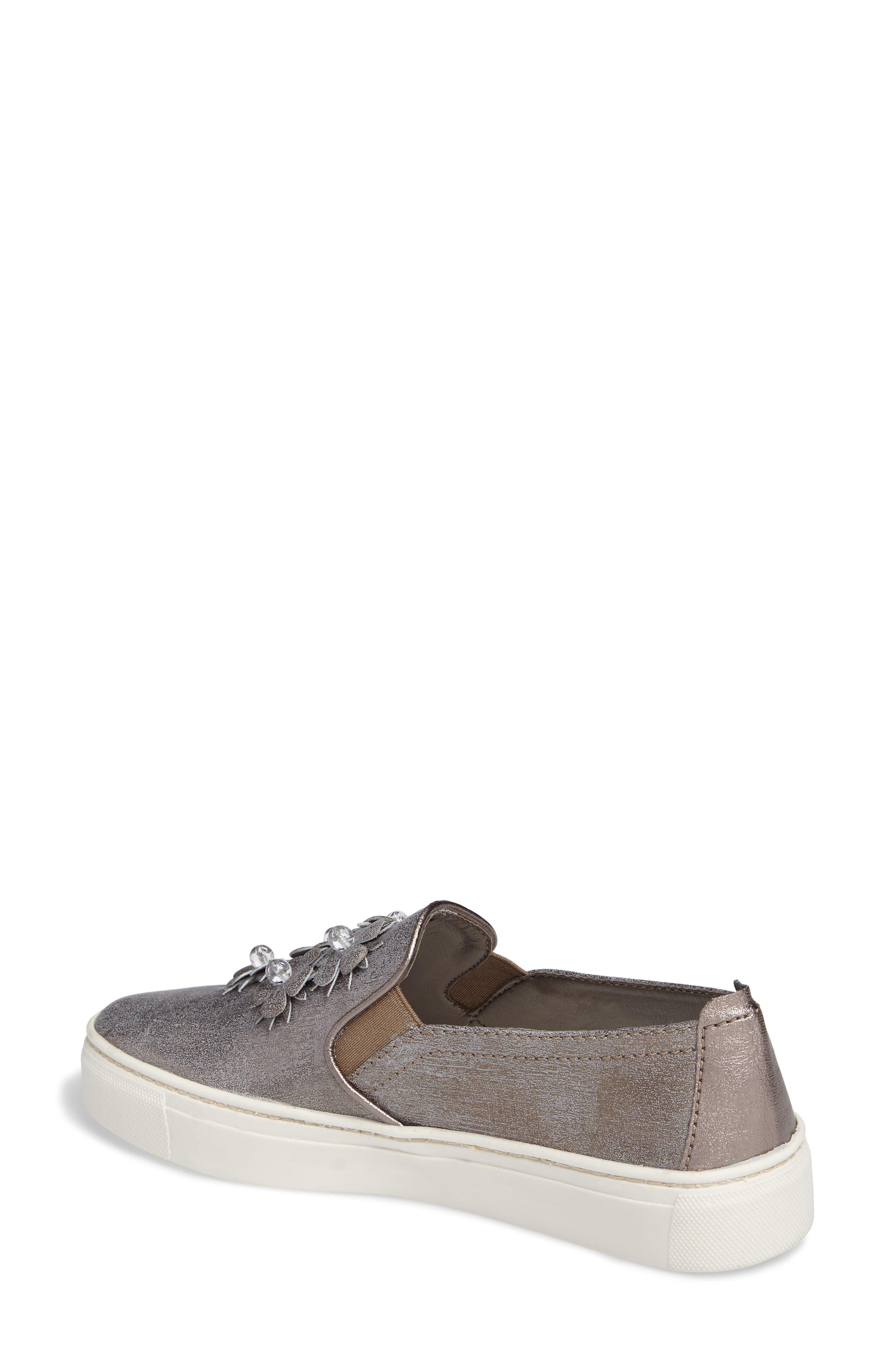 Sneak Blossom Slip-On Sneaker,                             Alternate thumbnail 2, color,                             Gunmetal
