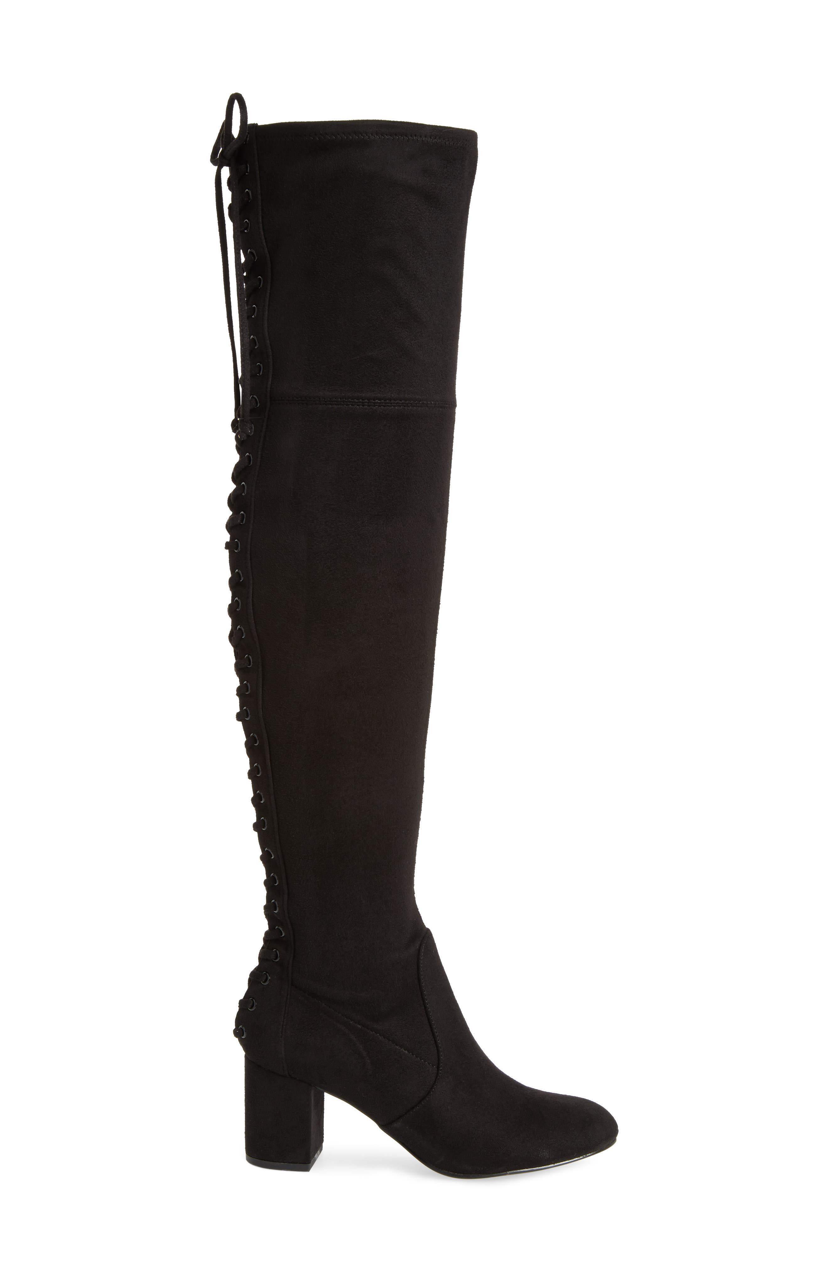 Ollie Over the Knee Boot,                             Alternate thumbnail 3, color,                             Black Microsuede