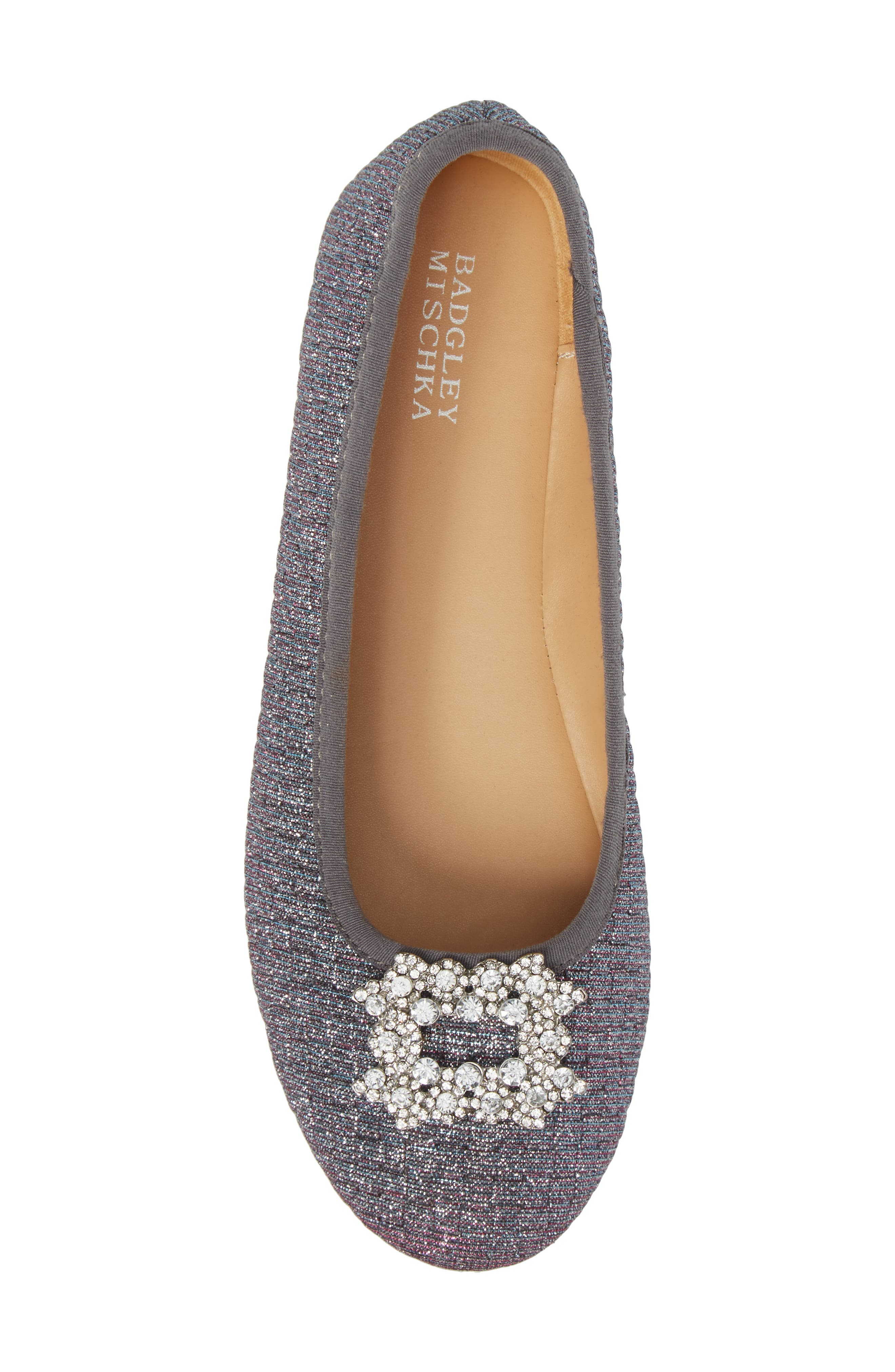 Alternate Image 5  - Badgley Mischka Amber Nidia Embellished Glitter Flat (Toddler, Little Kid & Big Kid)