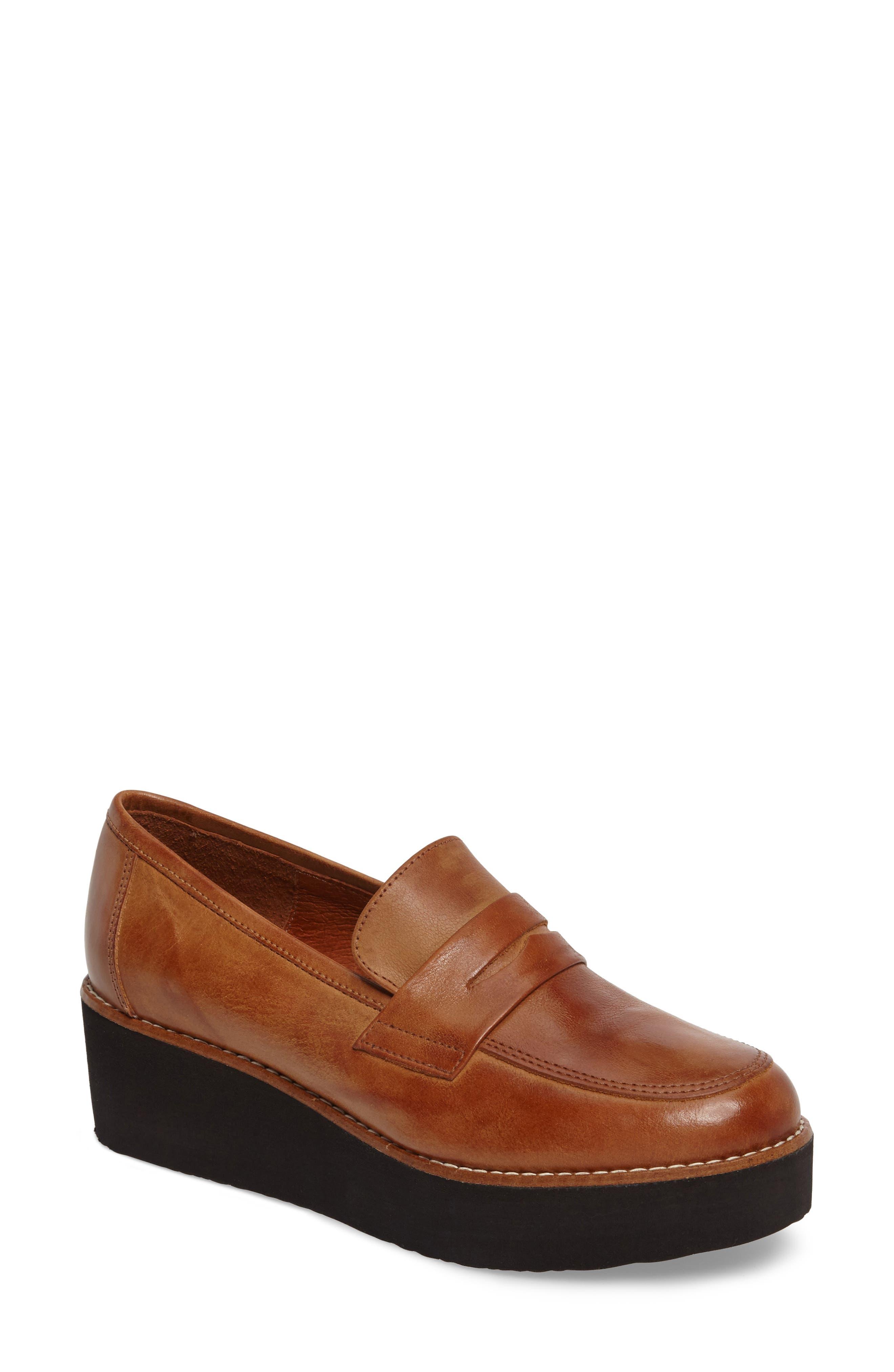 Santiago Platform Penny Loafer,                         Main,                         color, Brown Leather