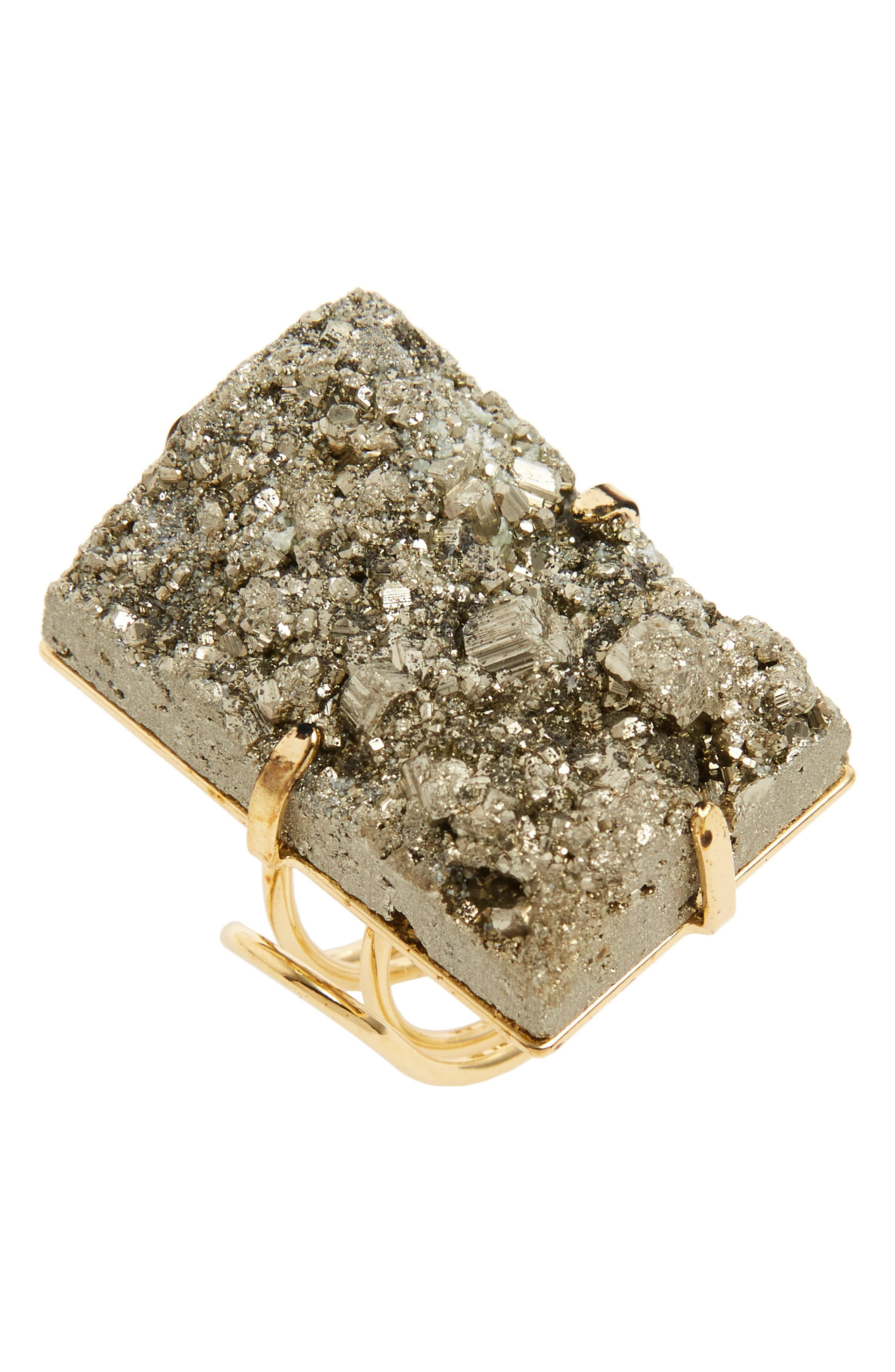 Rectangular Pyrite Ring,                         Main,                         color, Grey