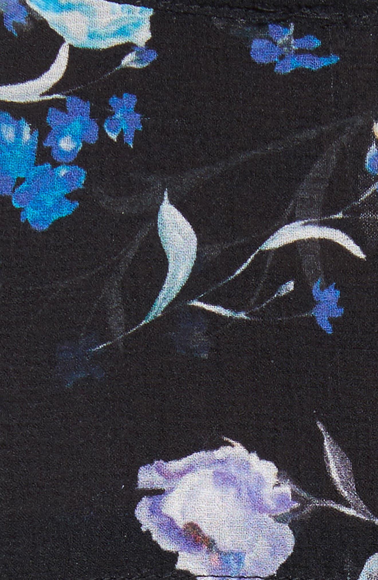 Bell Sleeve Silk Blouse,                             Alternate thumbnail 5, color,                             Black