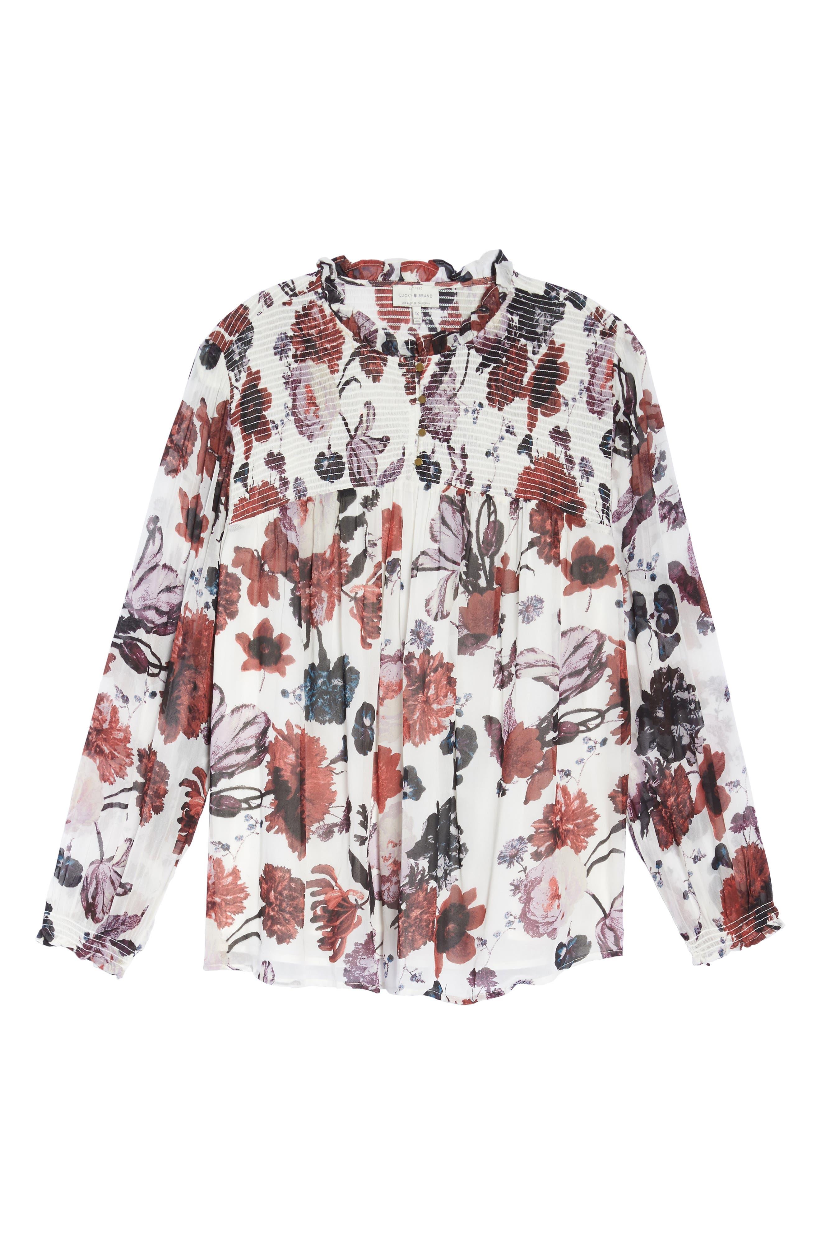 Alternate Image 6  - Lucky Brand Smock Yoke Floral Top (Plus Size)