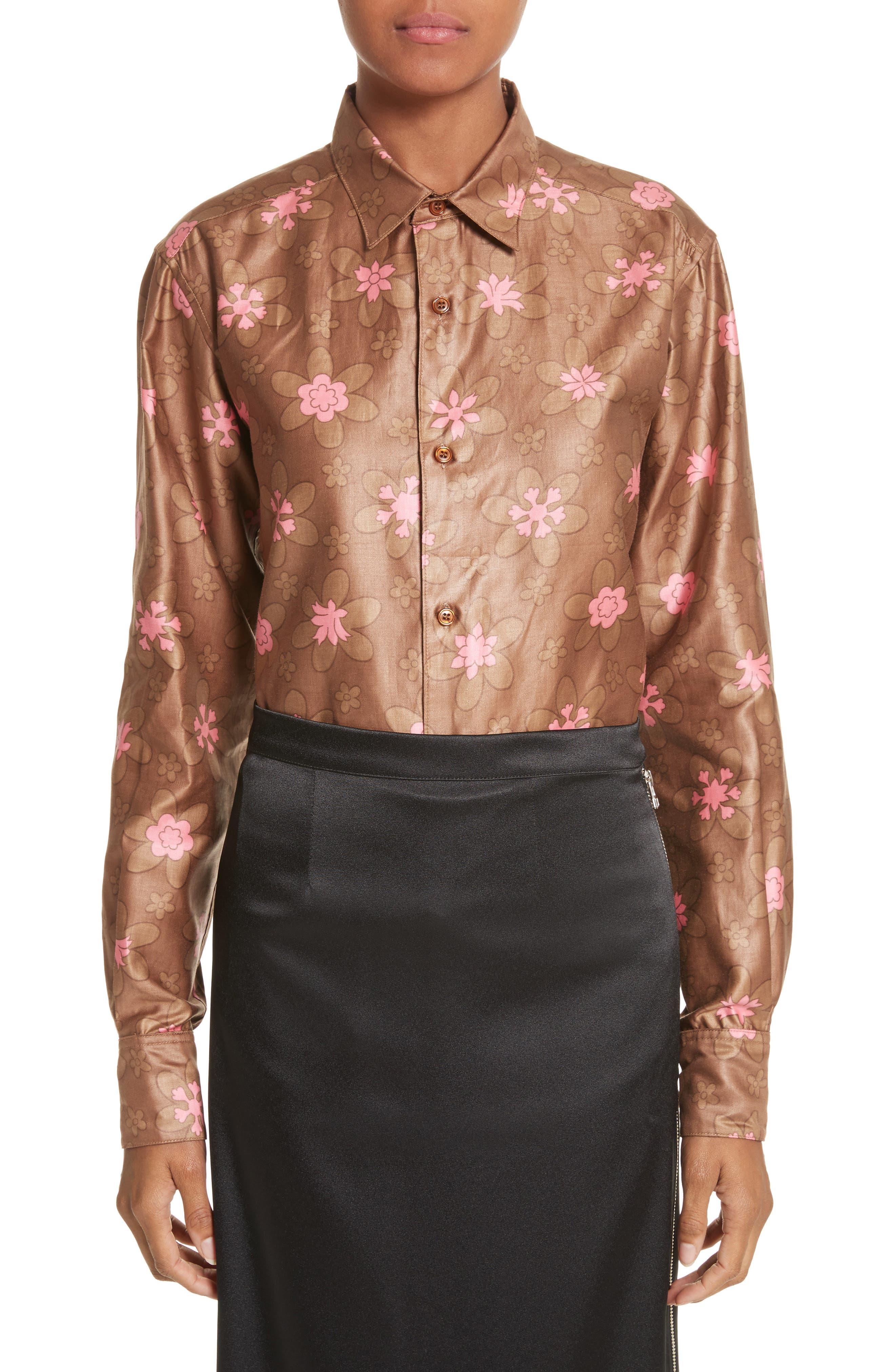 Eckhaus Latta Floral Print Cotton Blouse