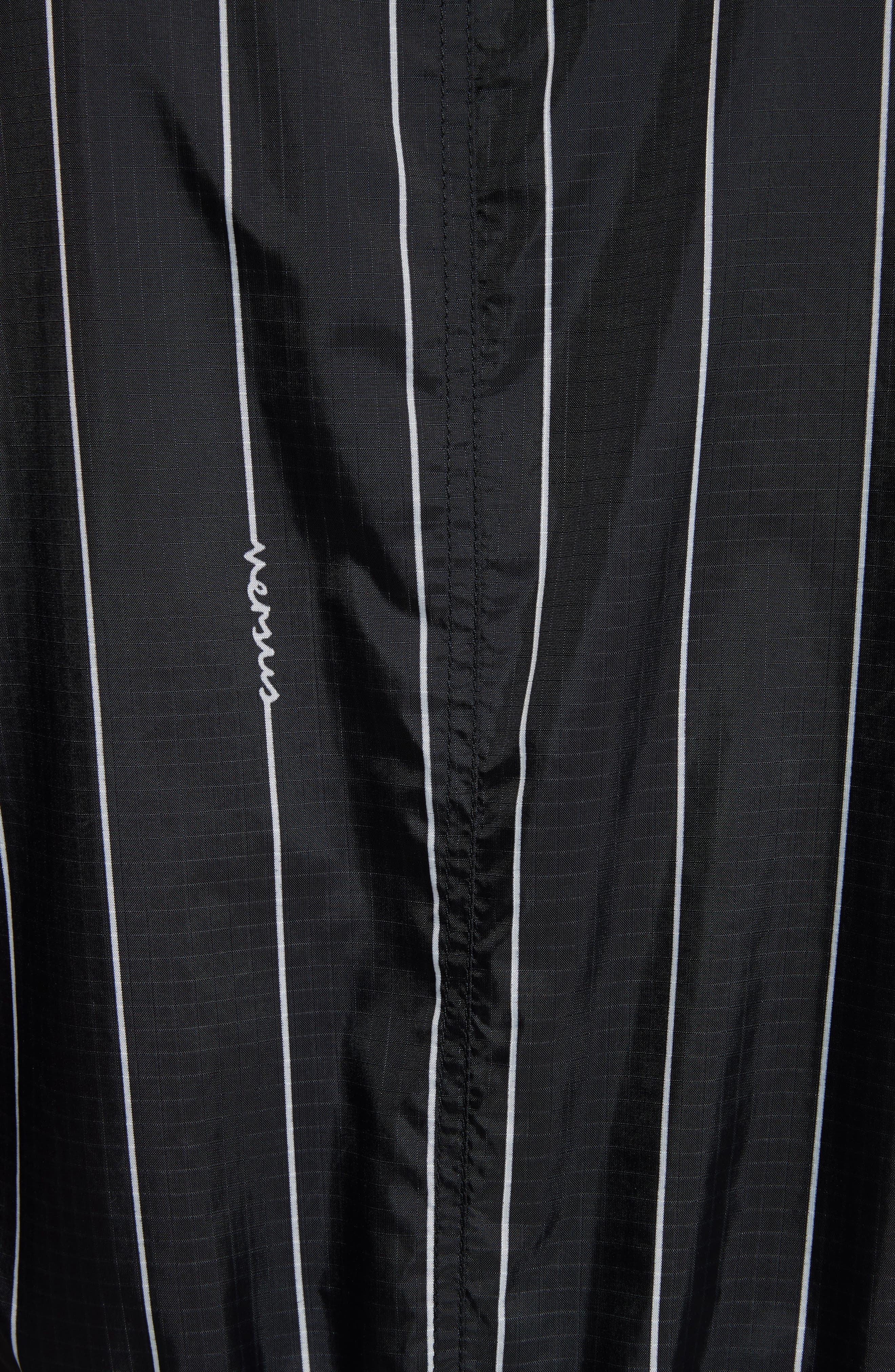 VERSUS by Versace Reversible Pinstripe Bomber Jacket,                             Alternate thumbnail 5, color,                             Black