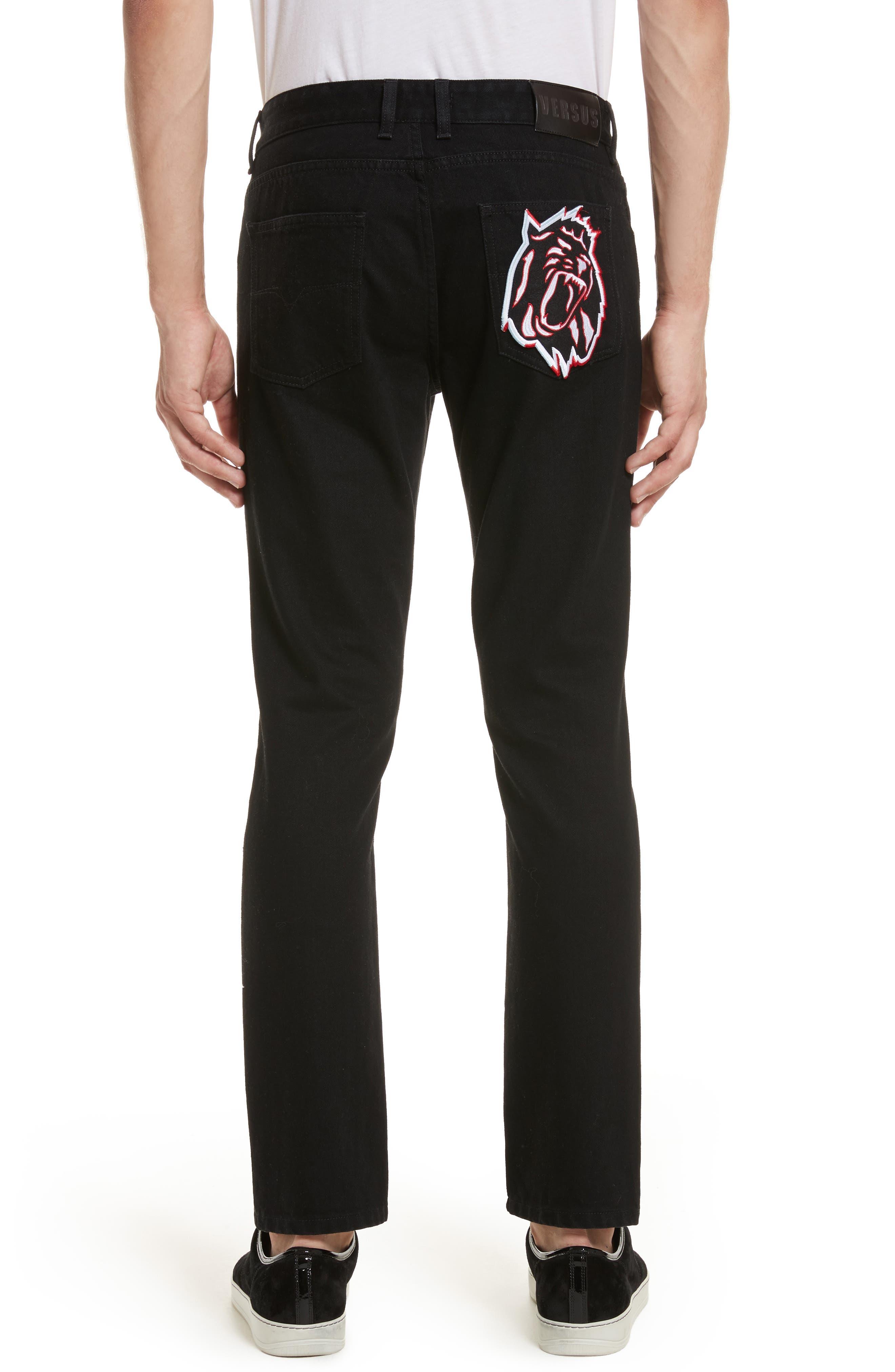 VERSUS by Versace Lion Slim Fit Jeans,                             Alternate thumbnail 2, color,                             Black