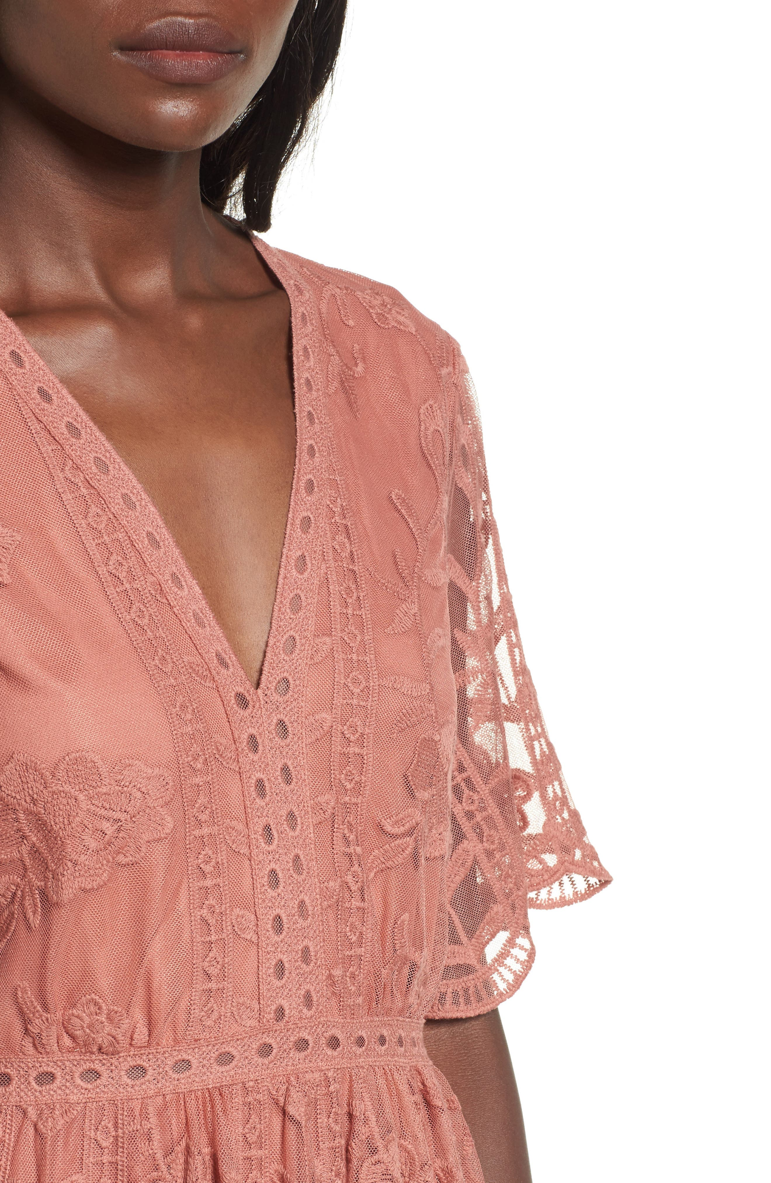 Lace Overlay Romper,                             Alternate thumbnail 4, color,                             Coral Cedar