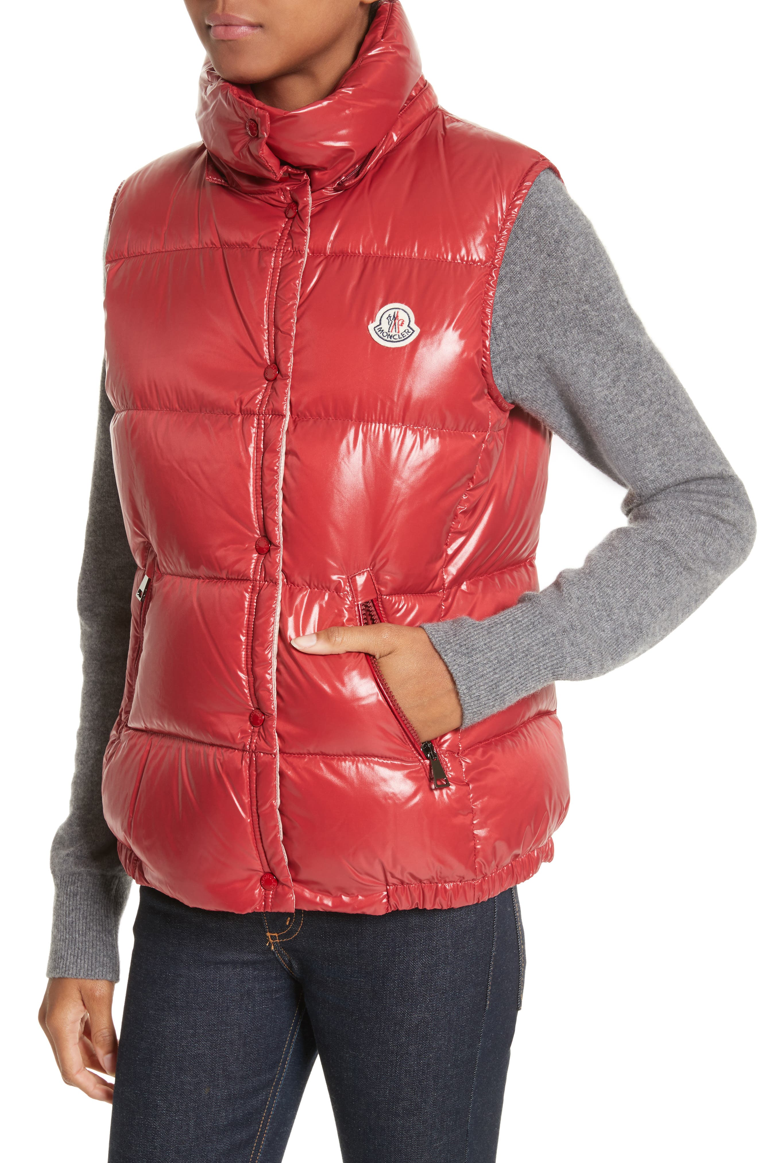 'Galene' Water Resistant Shiny Nylon Hooded Down Vest,                             Alternate thumbnail 4, color,                             Red