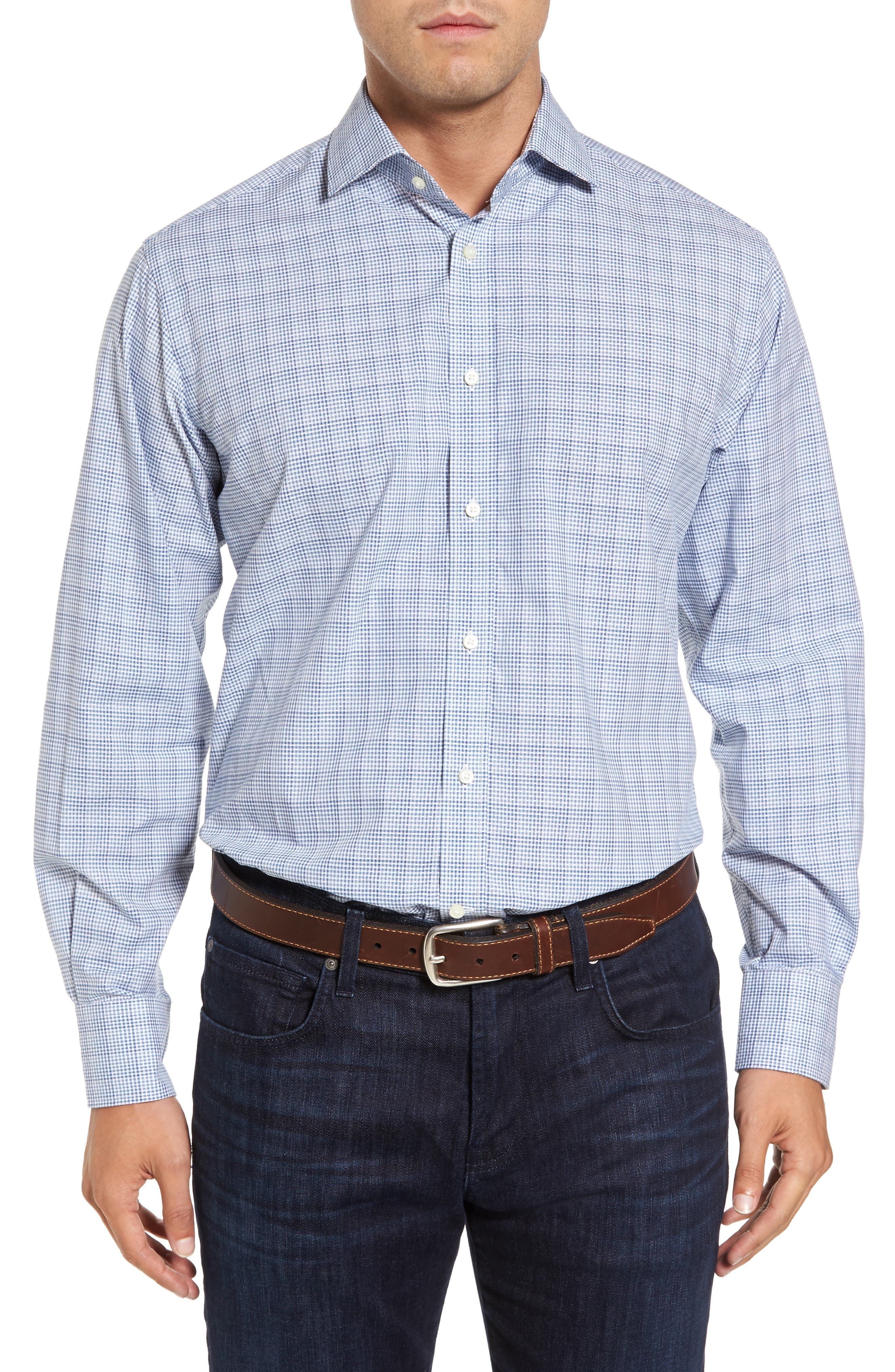 Regular Fit Dobby Check Sport Shirt,                         Main,                         color, Blue