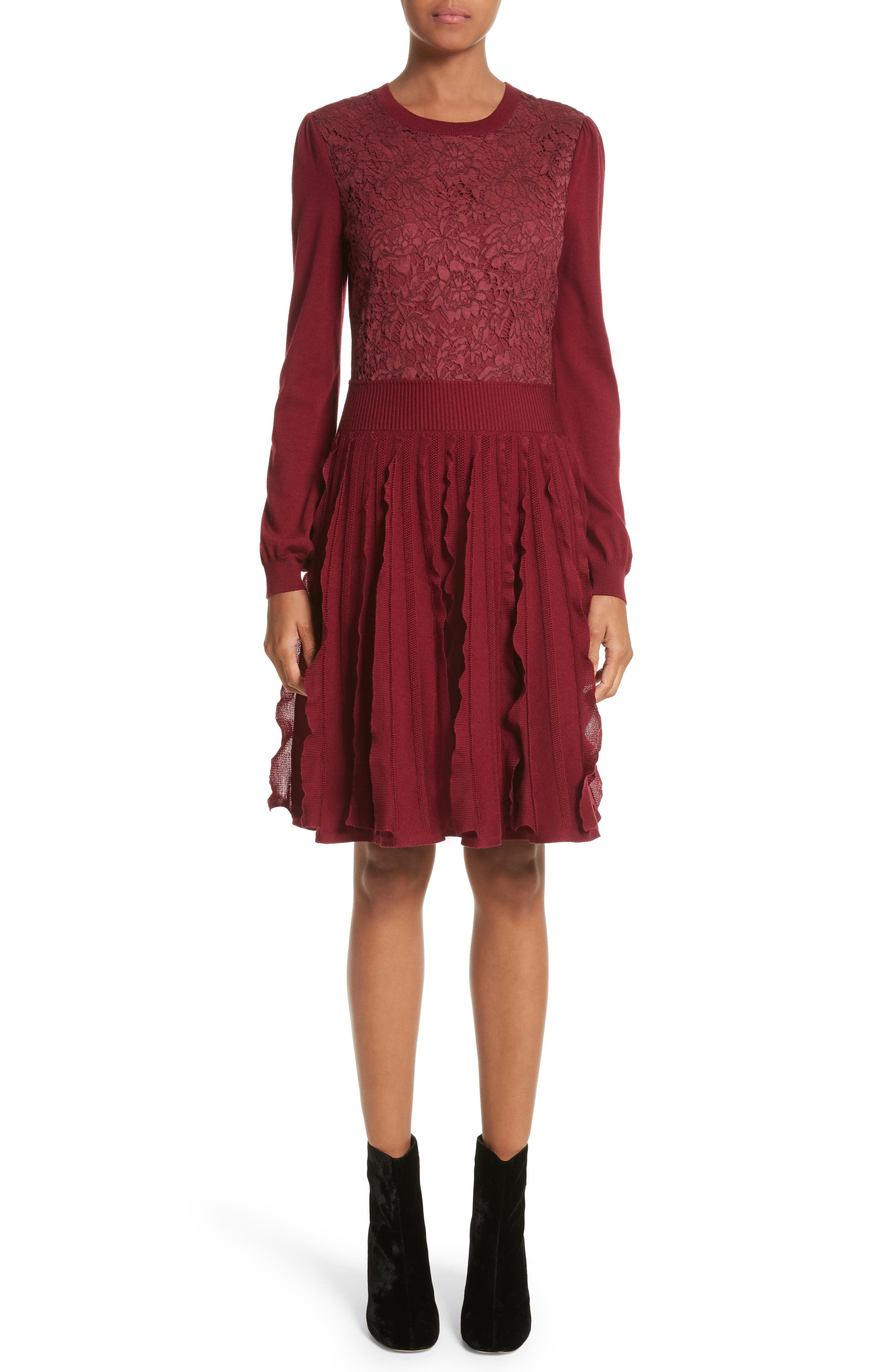 Guipure Lace & Wool Knit Dress,                         Main,                         color, Burgundy