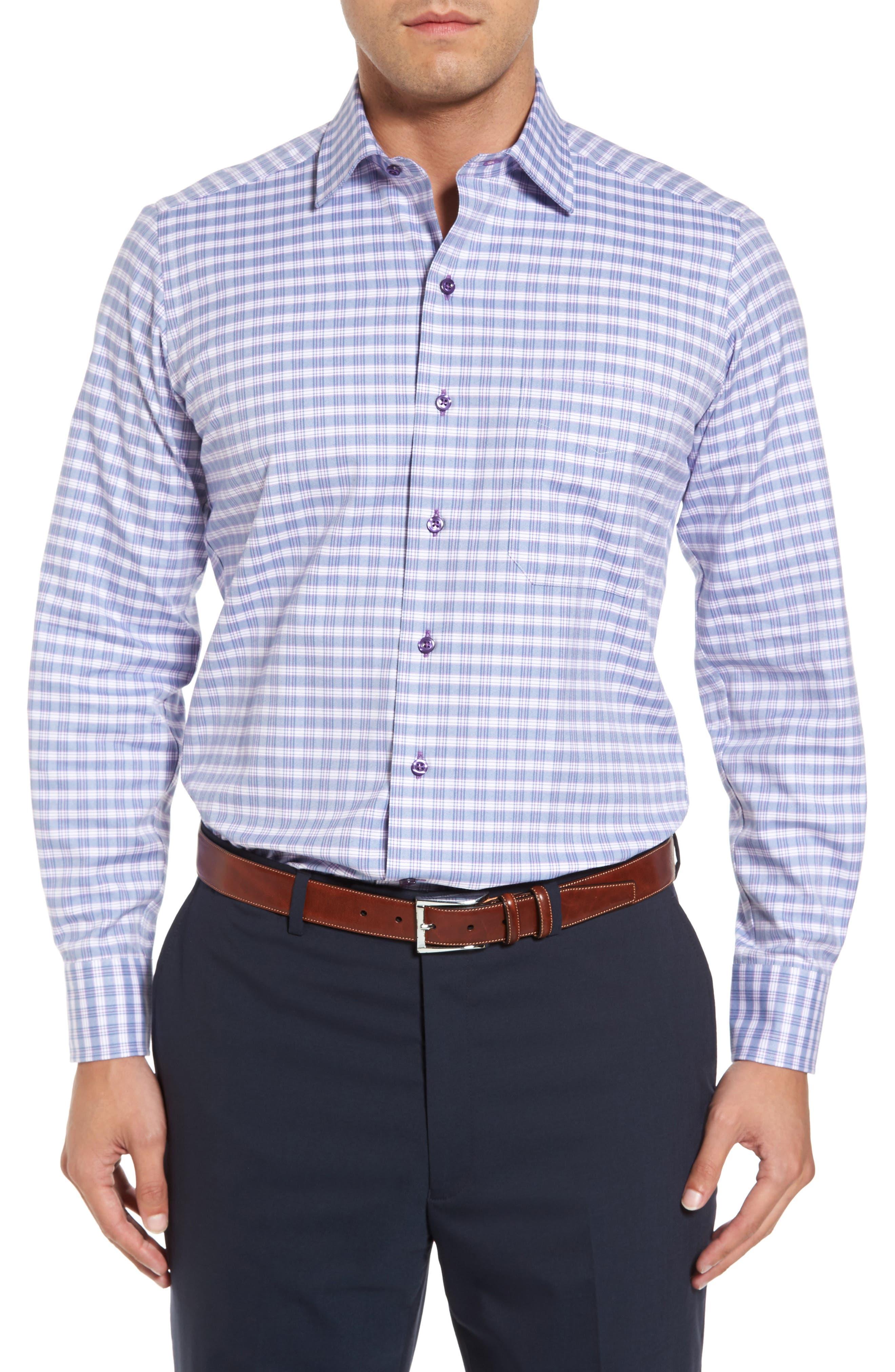 Check Regular Fit Sport Shirt,                             Main thumbnail 1, color,                             Blue/ Purple