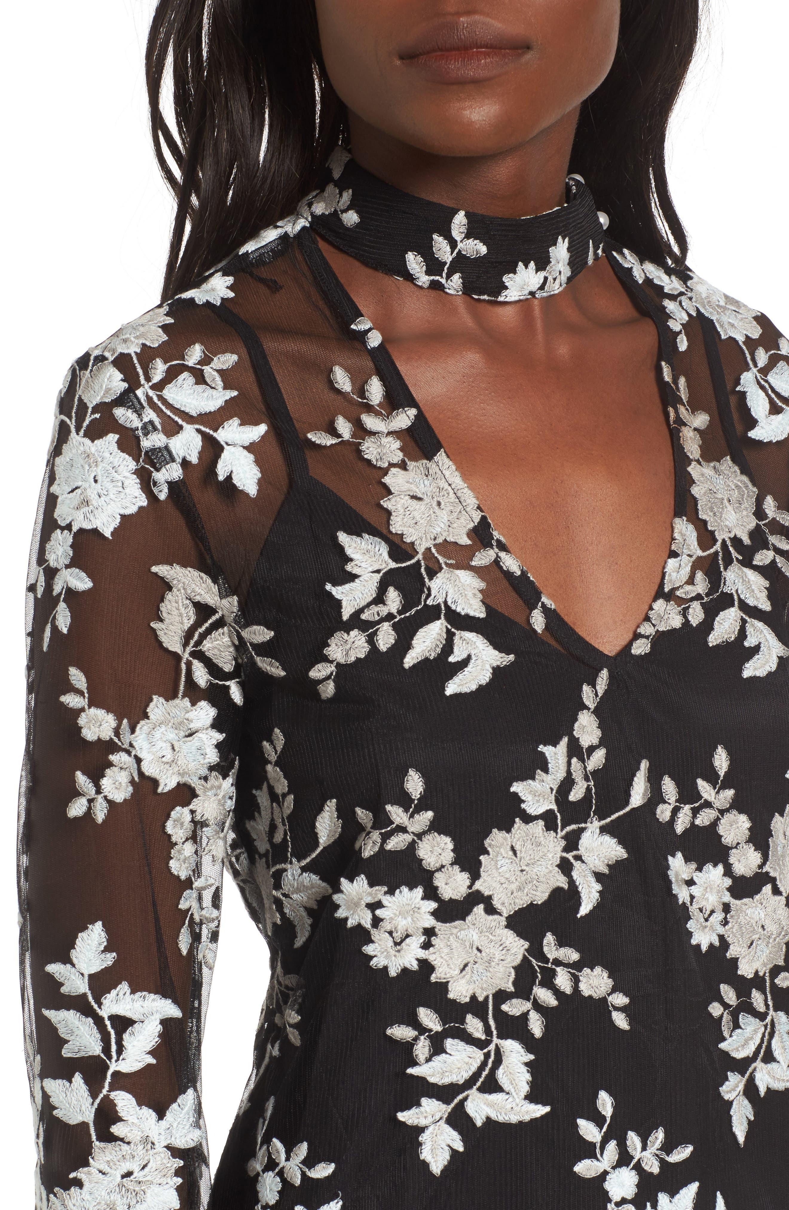 Romy Choker Mesh Minidress,                             Alternate thumbnail 4, color,                             Black/ Sage Embroidery