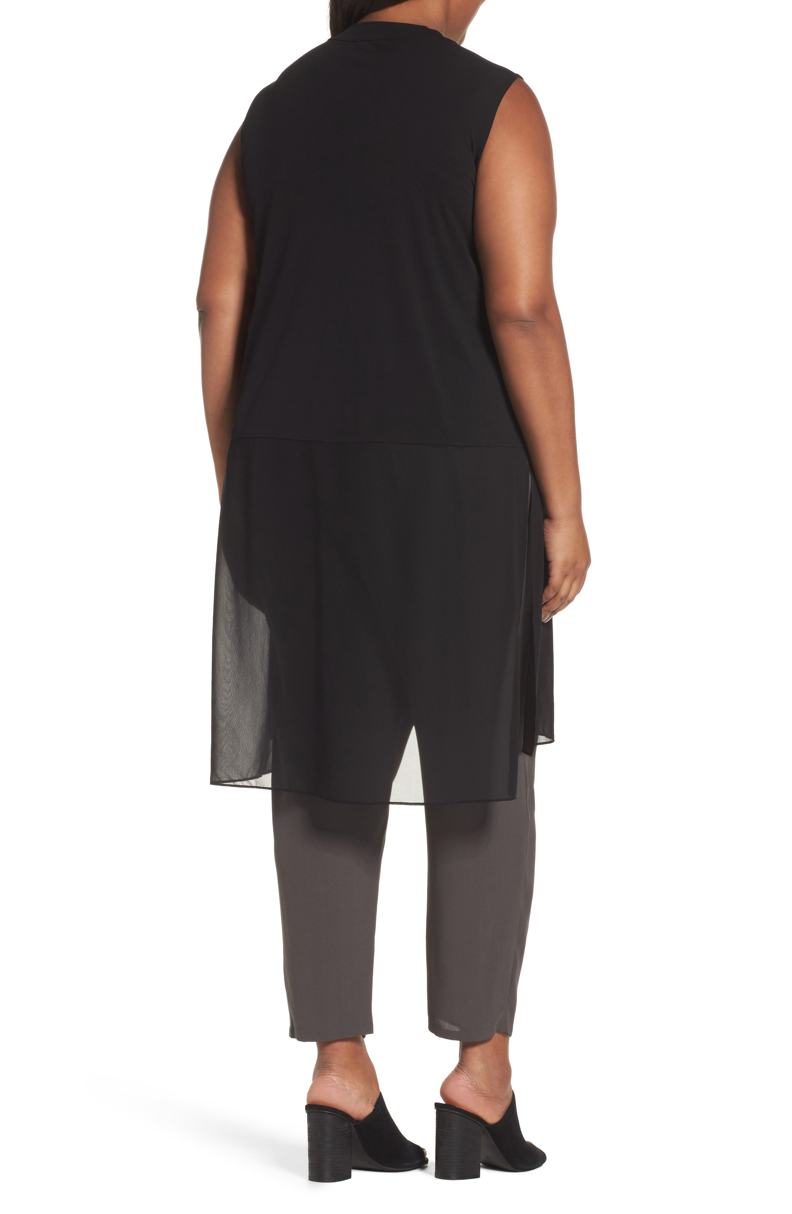 Alternate Image 2  - Eileen Fisher Silk Jersey & Chiffon Tunic (Plus Size)