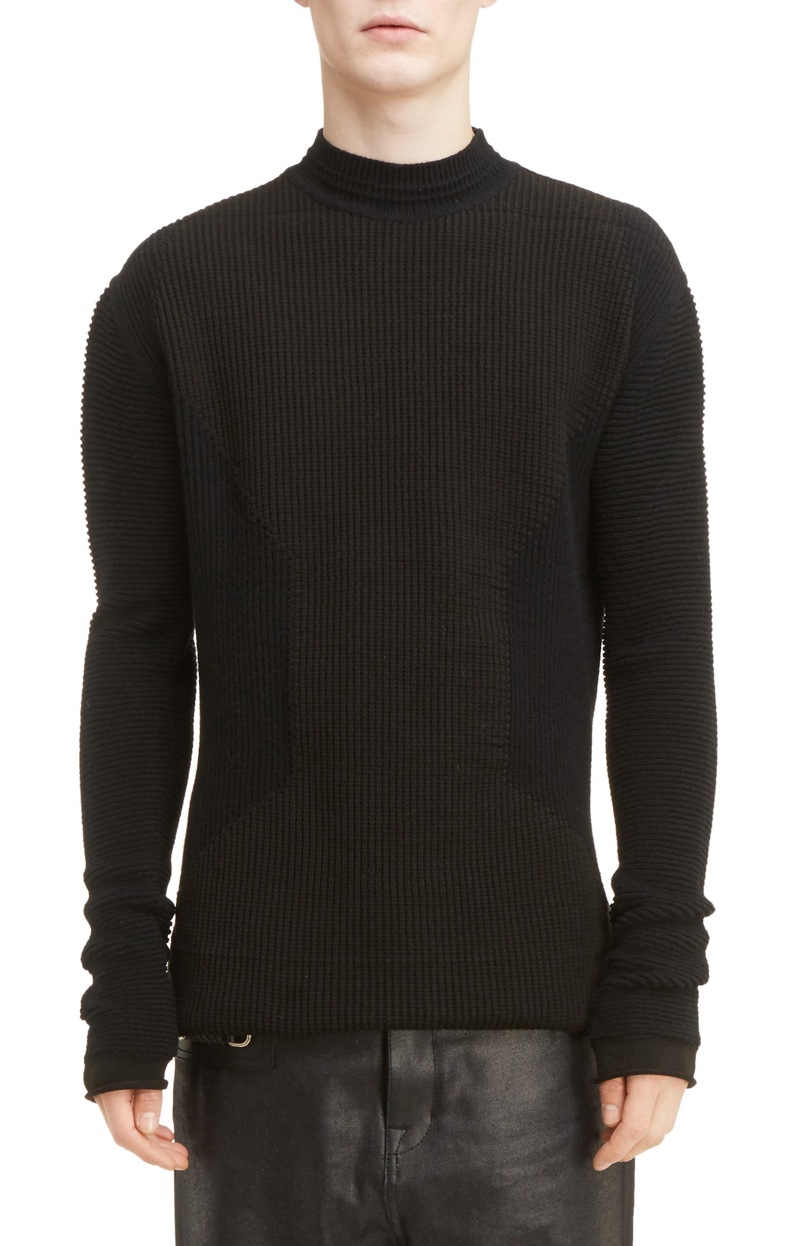 Rick Owens Fisherman Mock Neck Sweater