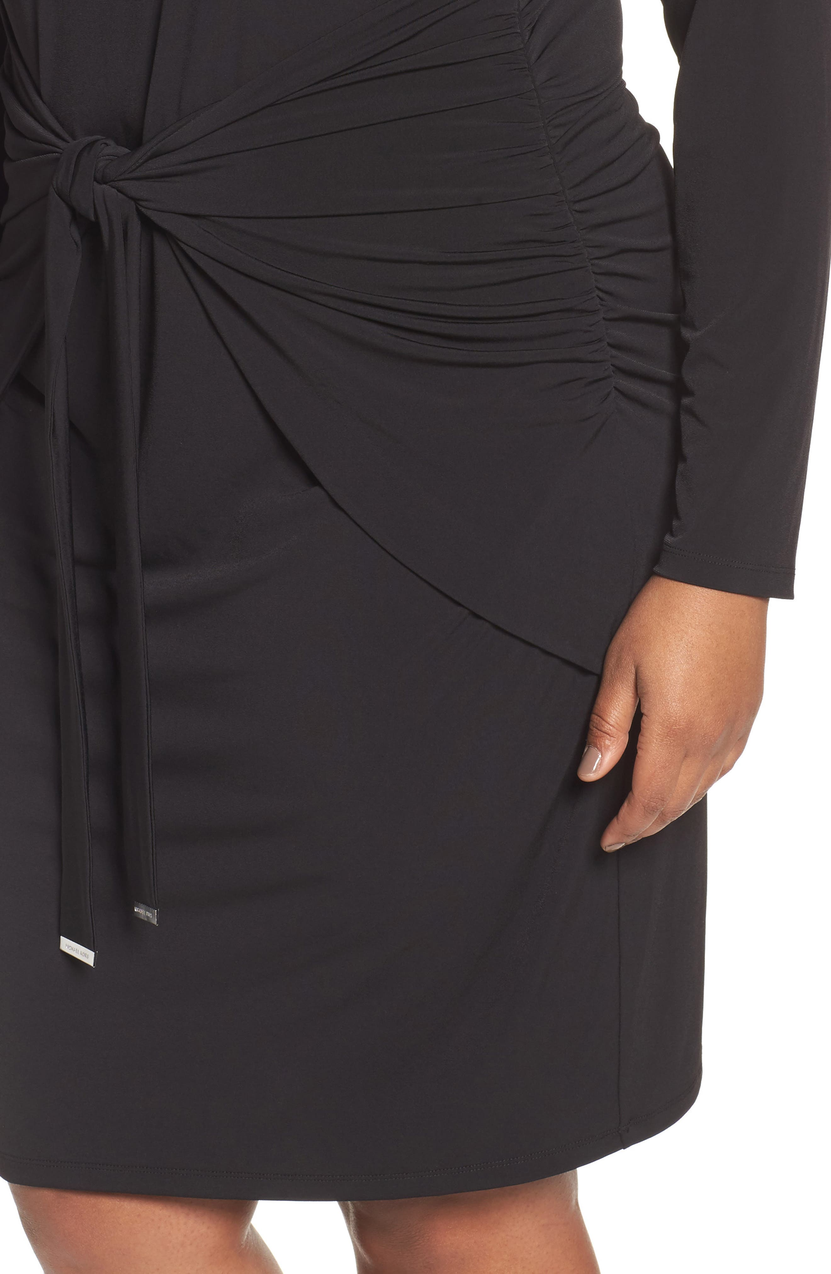 Twist Waist Dress,                             Alternate thumbnail 4, color,                             Black