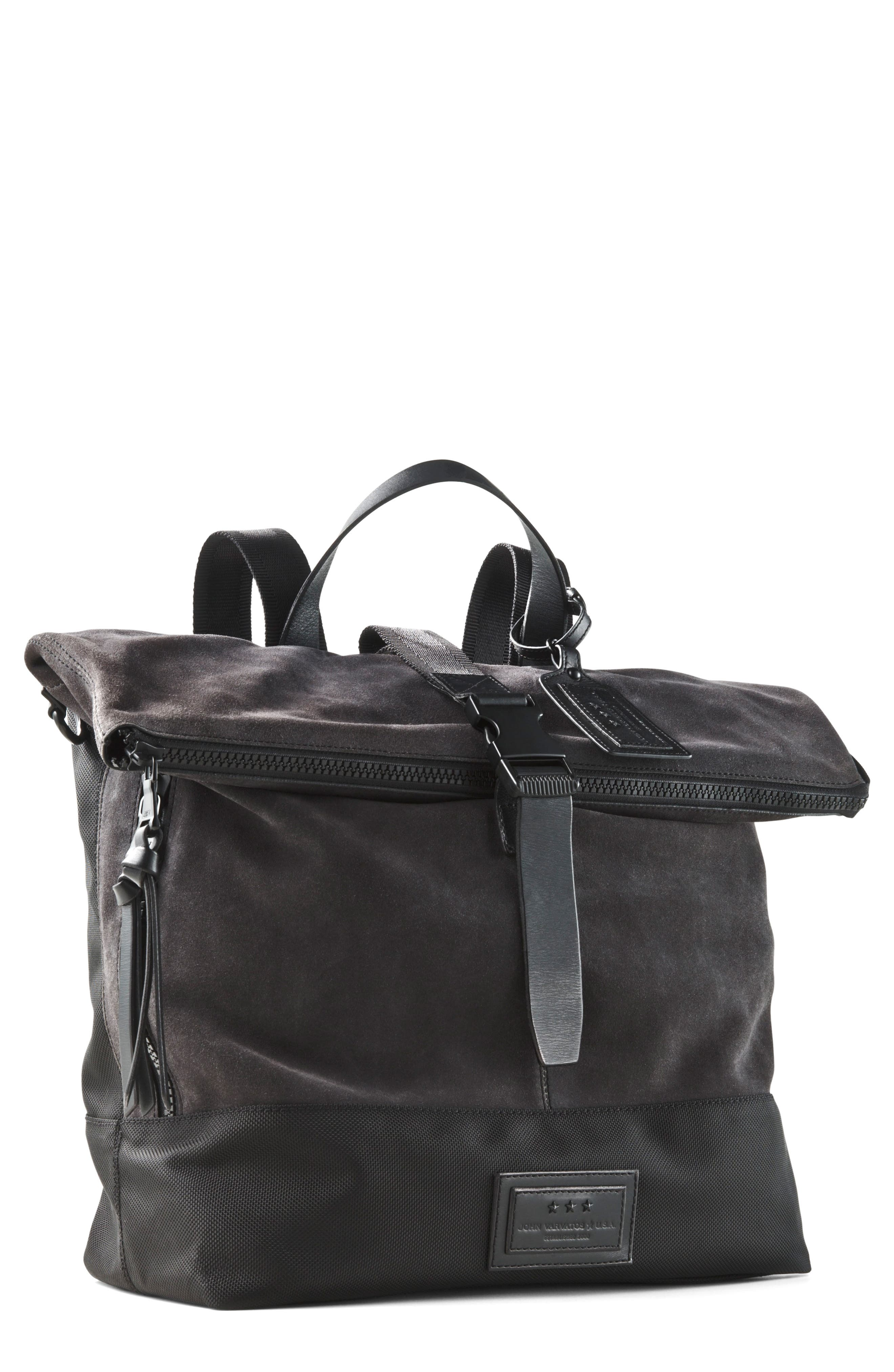 Suede & Ballistic Nylon Backpack,                         Main,                         color, Elephant