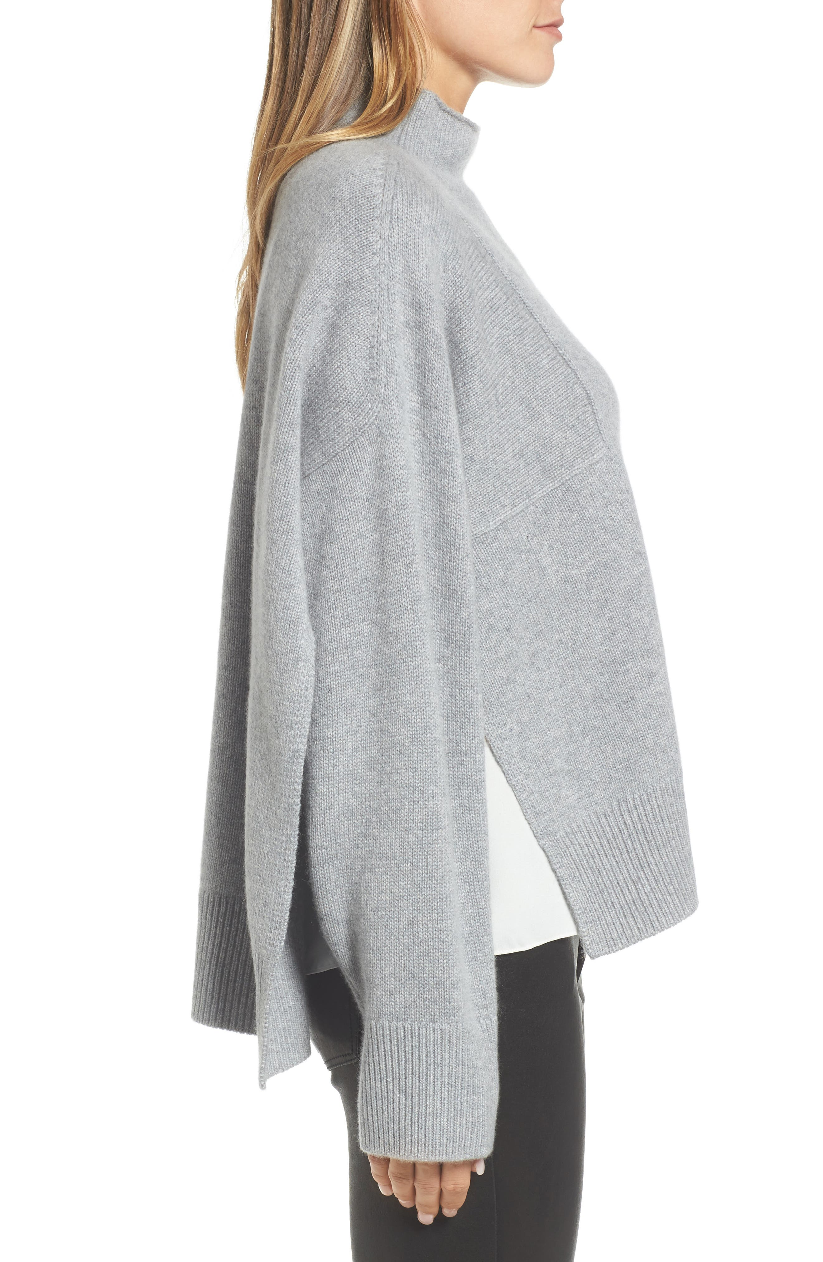 Side Slit Cashmere Sweater,                             Alternate thumbnail 3, color,                             Grey Filigree Heather