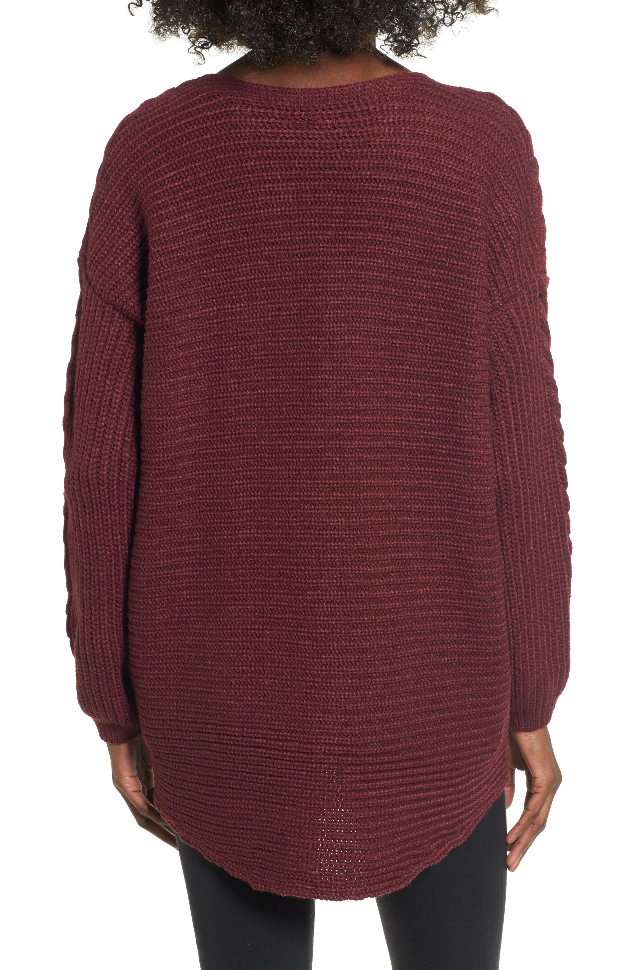 Cross Front Braided Sweater,                             Alternate thumbnail 2, color,                             Zinfandel