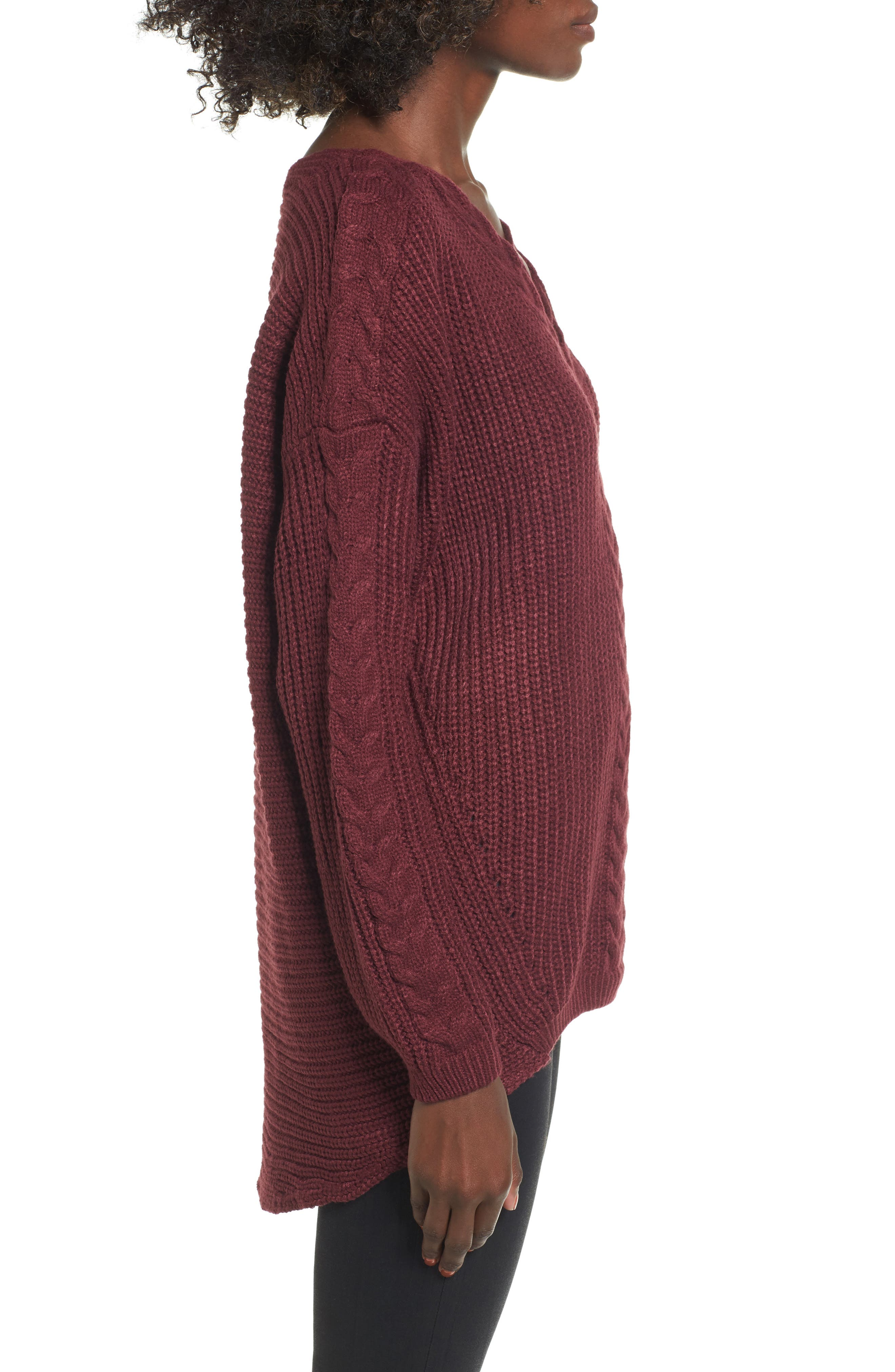 Cross Front Braided Sweater,                             Alternate thumbnail 3, color,                             Zinfandel