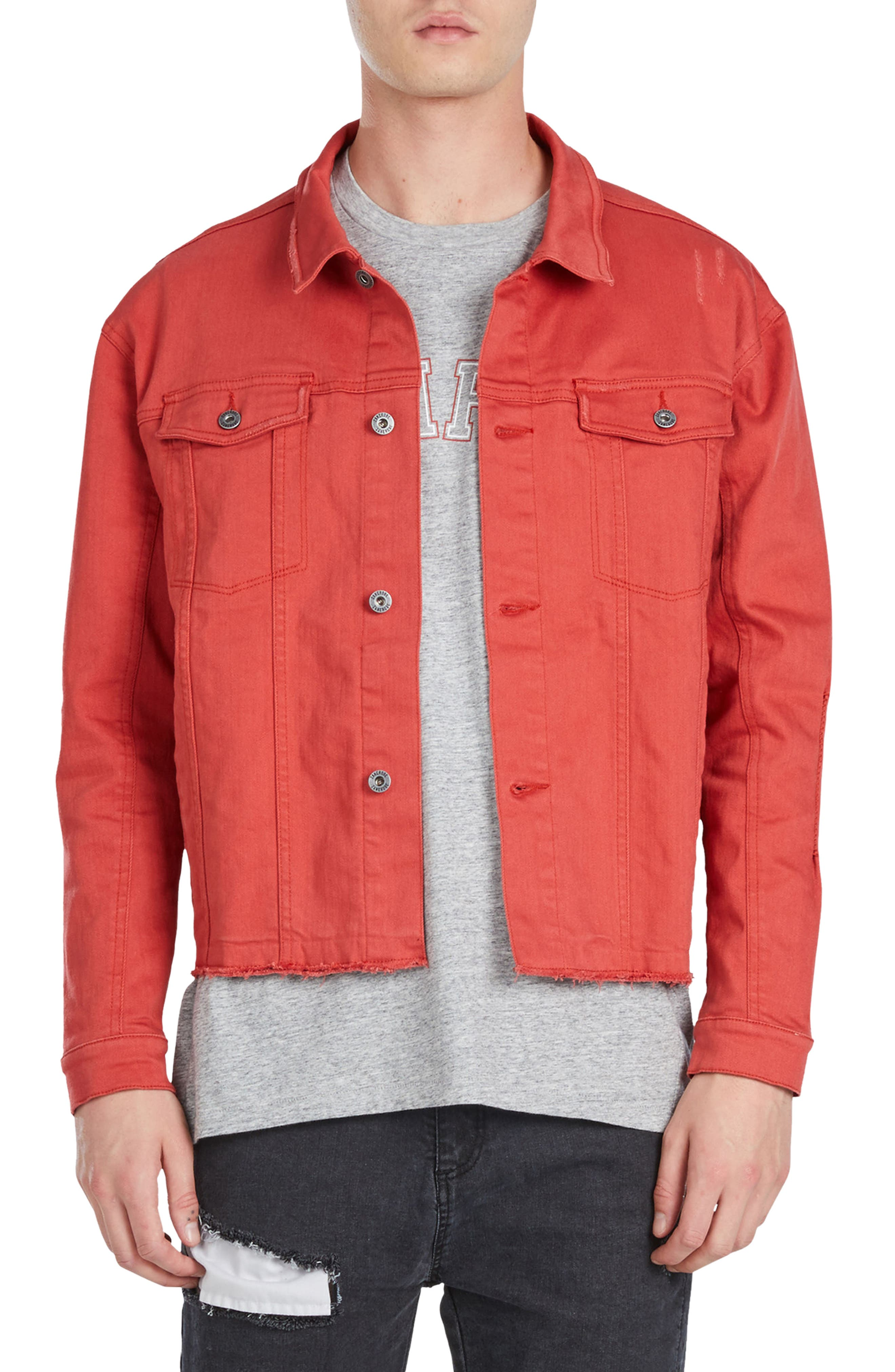 Snitch Denim Jacket,                             Main thumbnail 1, color,                             Vintage Red
