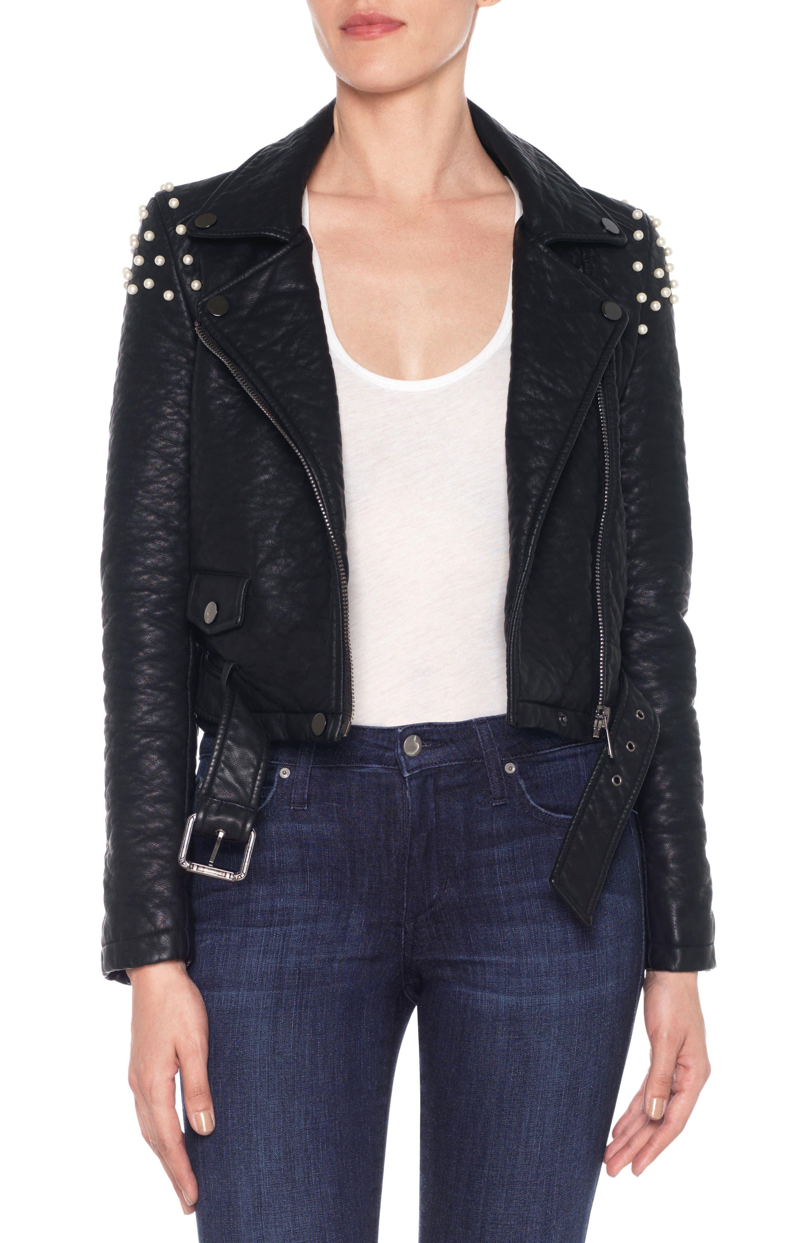 Taylor Embellished Faux Leather Moto Jacket,                         Main,                         color, Black