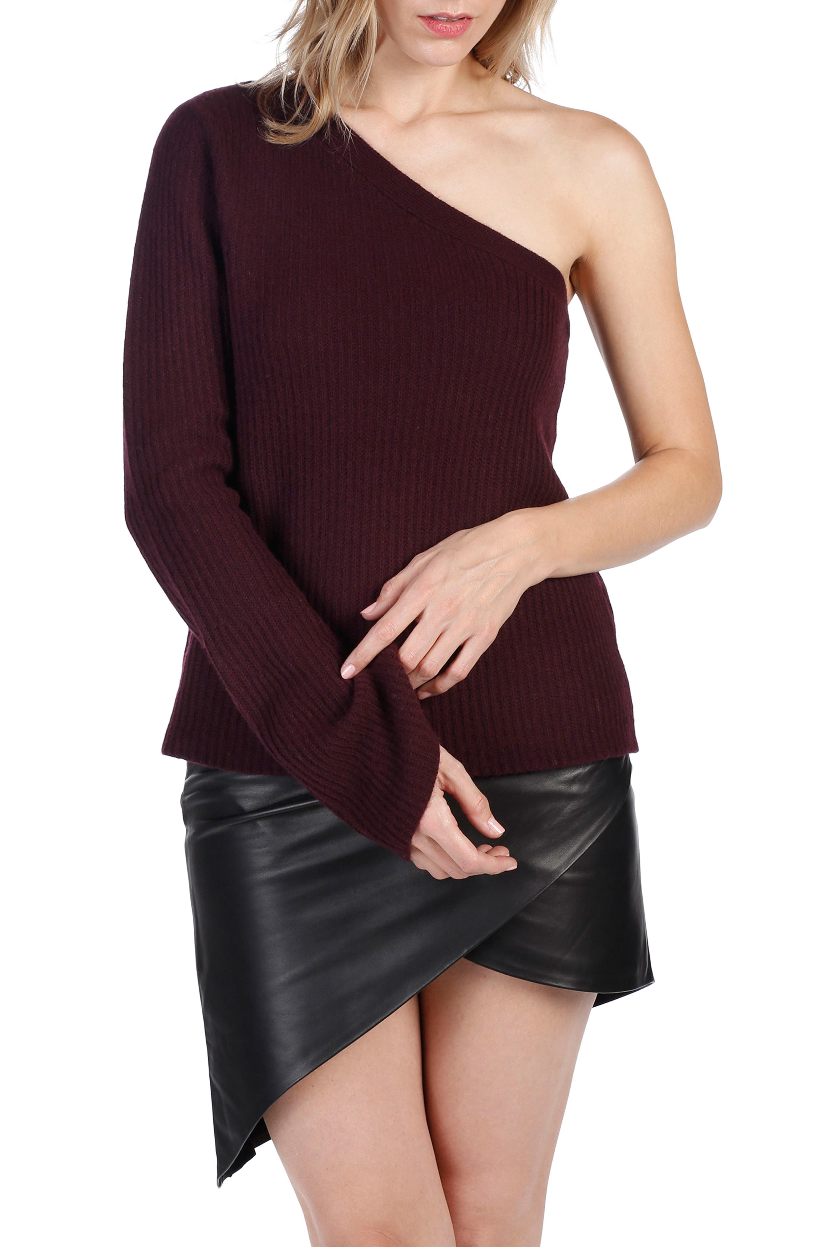 Rosie HW x PAIGE Hadlee One-Shoulder Sweater,                             Main thumbnail 1, color,                             Black Cherry