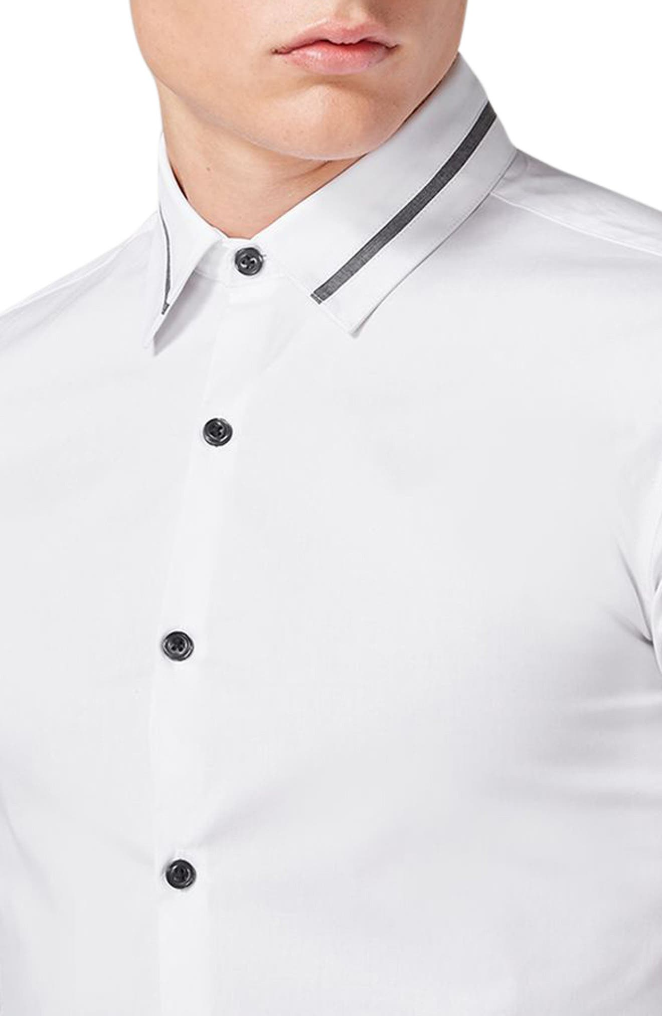 Alternate Image 3  - Topman Muscle Fit Contrast Trim Smart Shirt