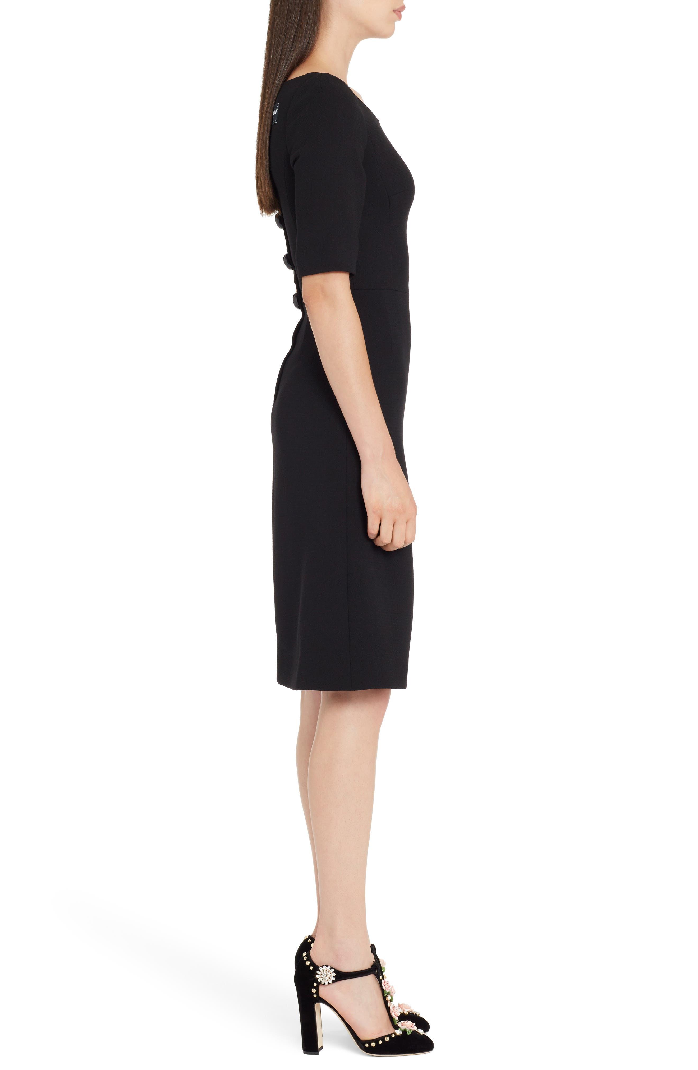 Button Detail Wool Crepe Dress,                             Alternate thumbnail 3, color,                             Black