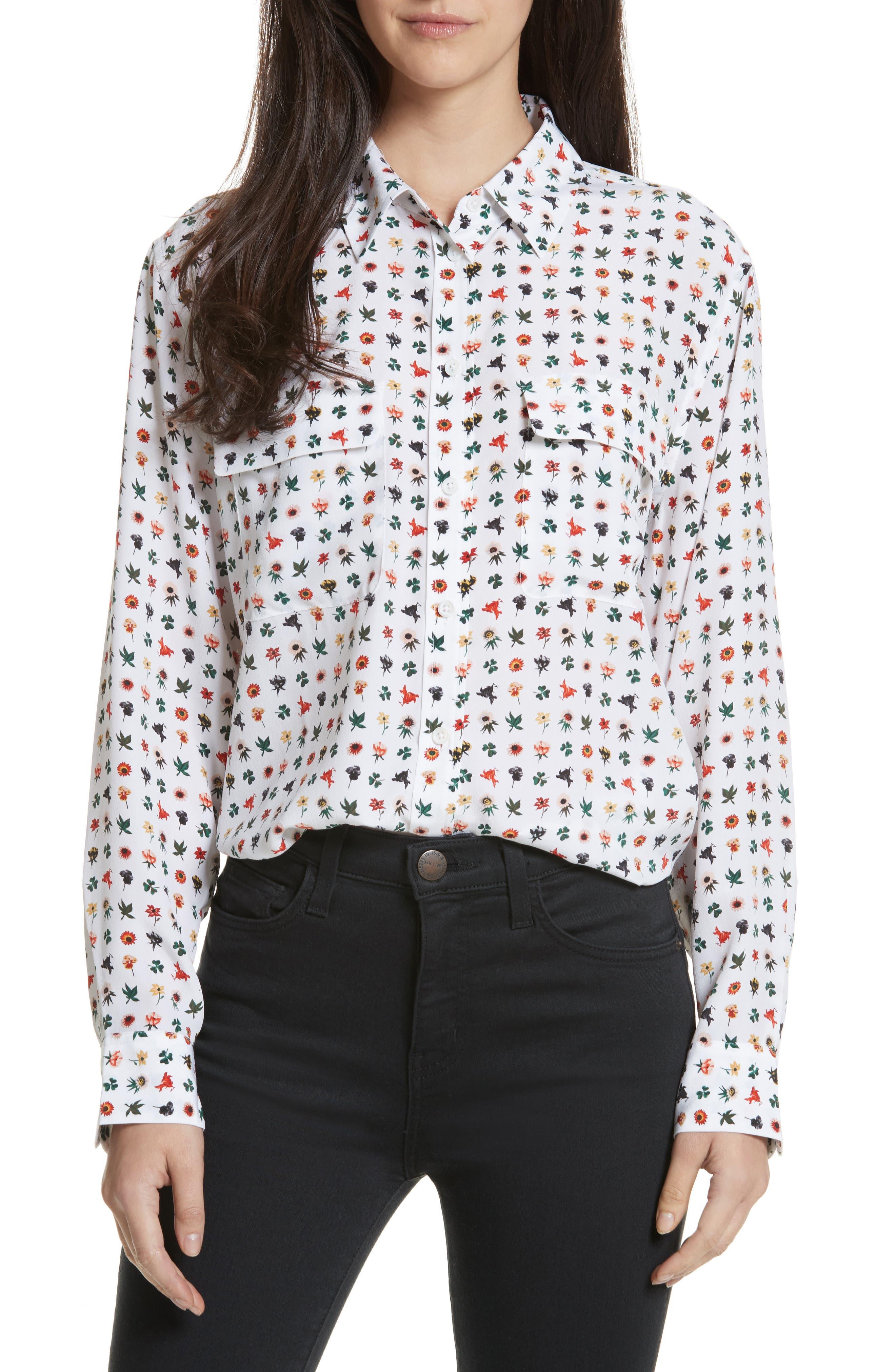 Signature Print Silk Shirt,                         Main,                         color, Bright White Multi