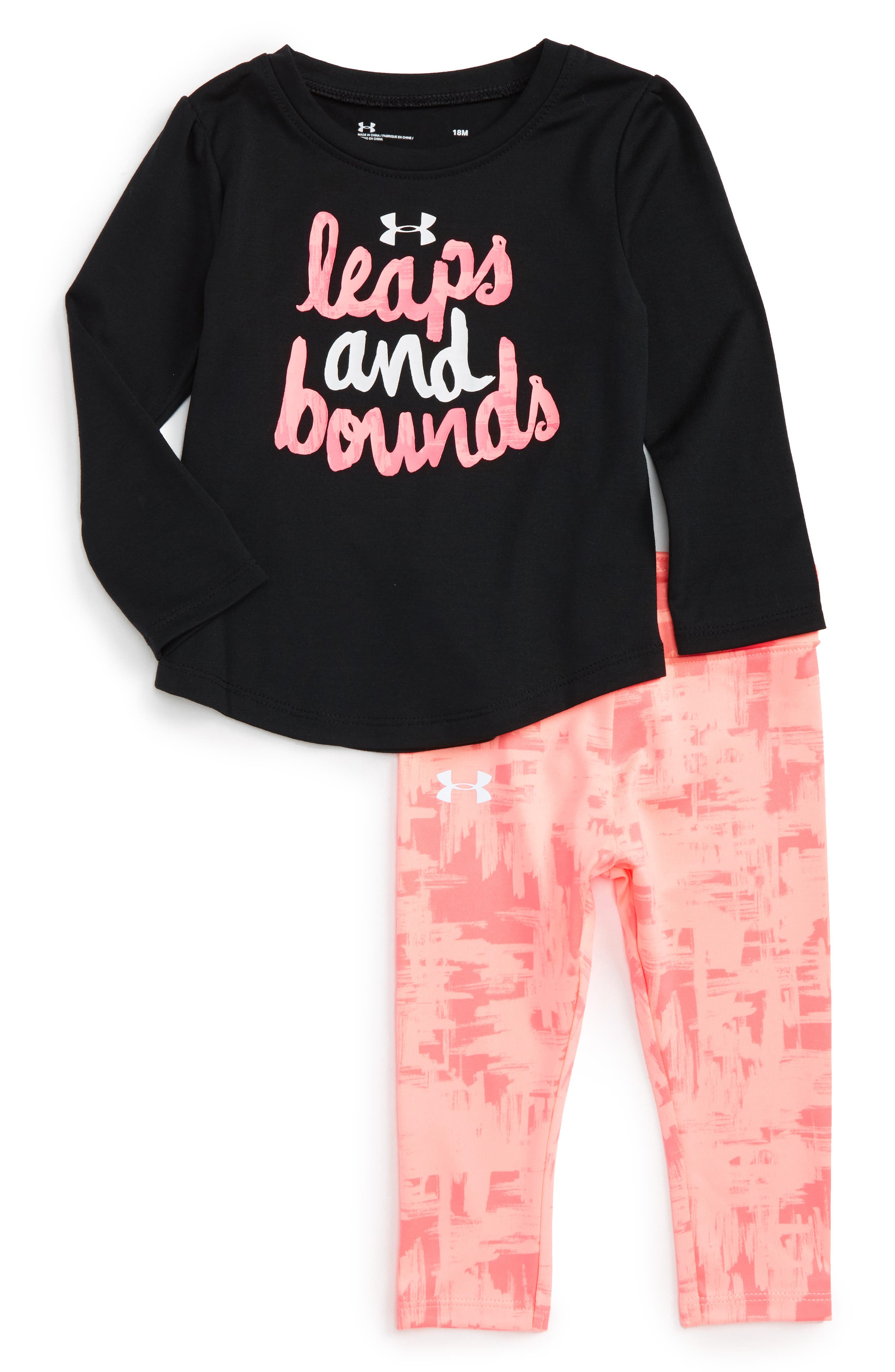 Main Image - Under Armour Leaps & Bounds Tee & Pants Set (Baby Girls)