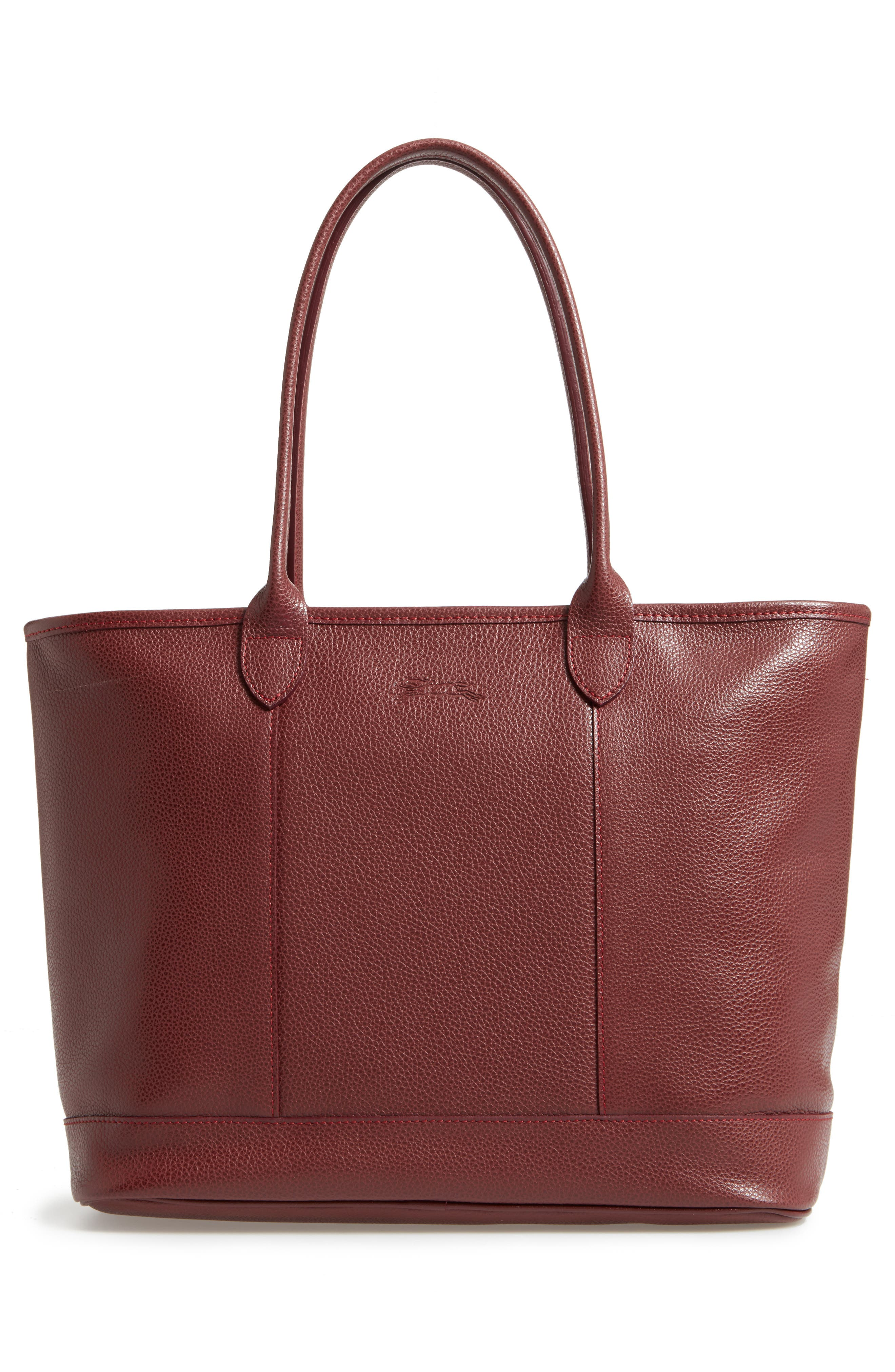 'Veau' Leather Tote,                             Alternate thumbnail 3, color,                             Red Lacquer