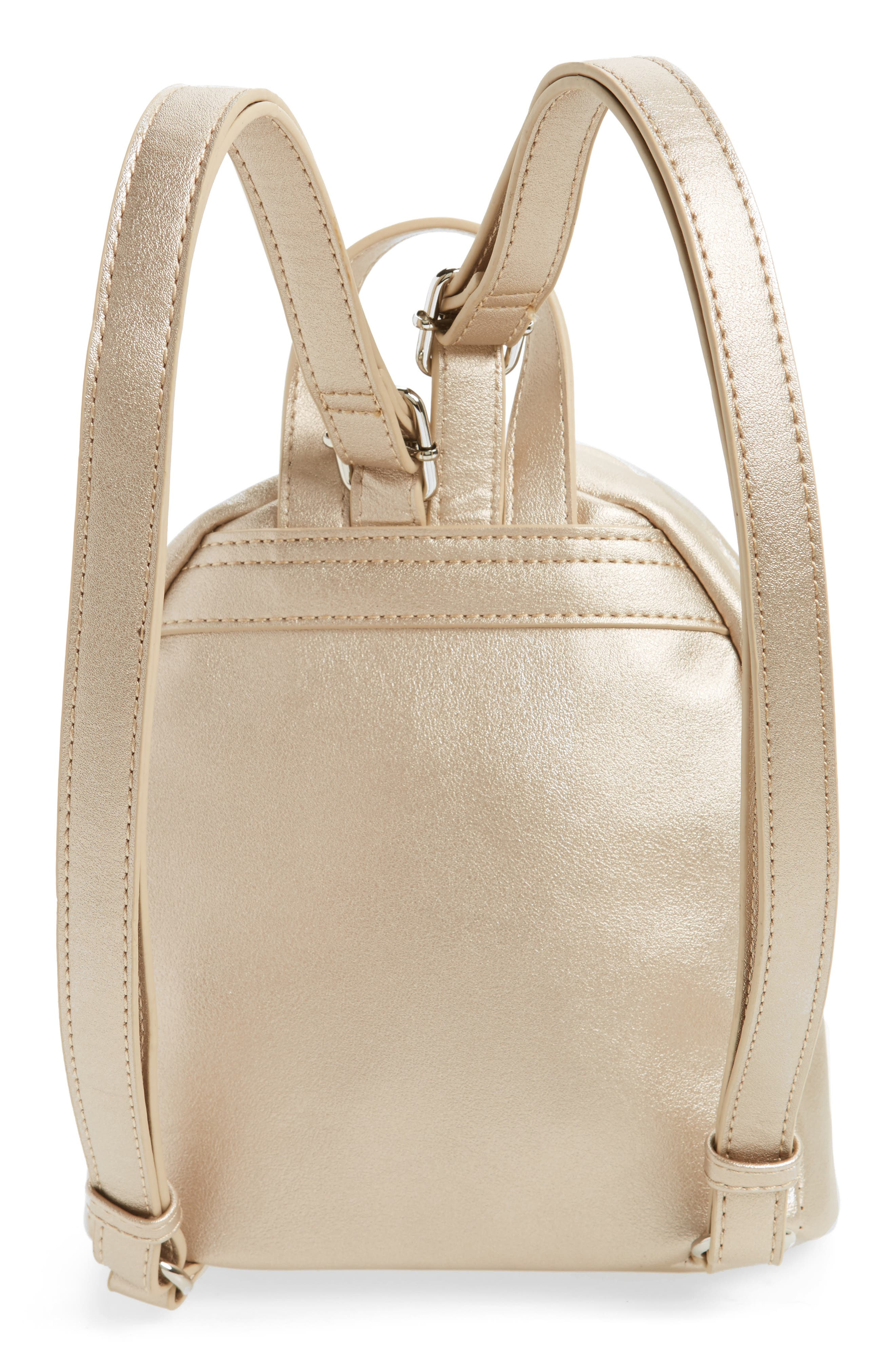 Faux Leather Mini Backpack,                             Alternate thumbnail 5, color,                             Gold/ Silver