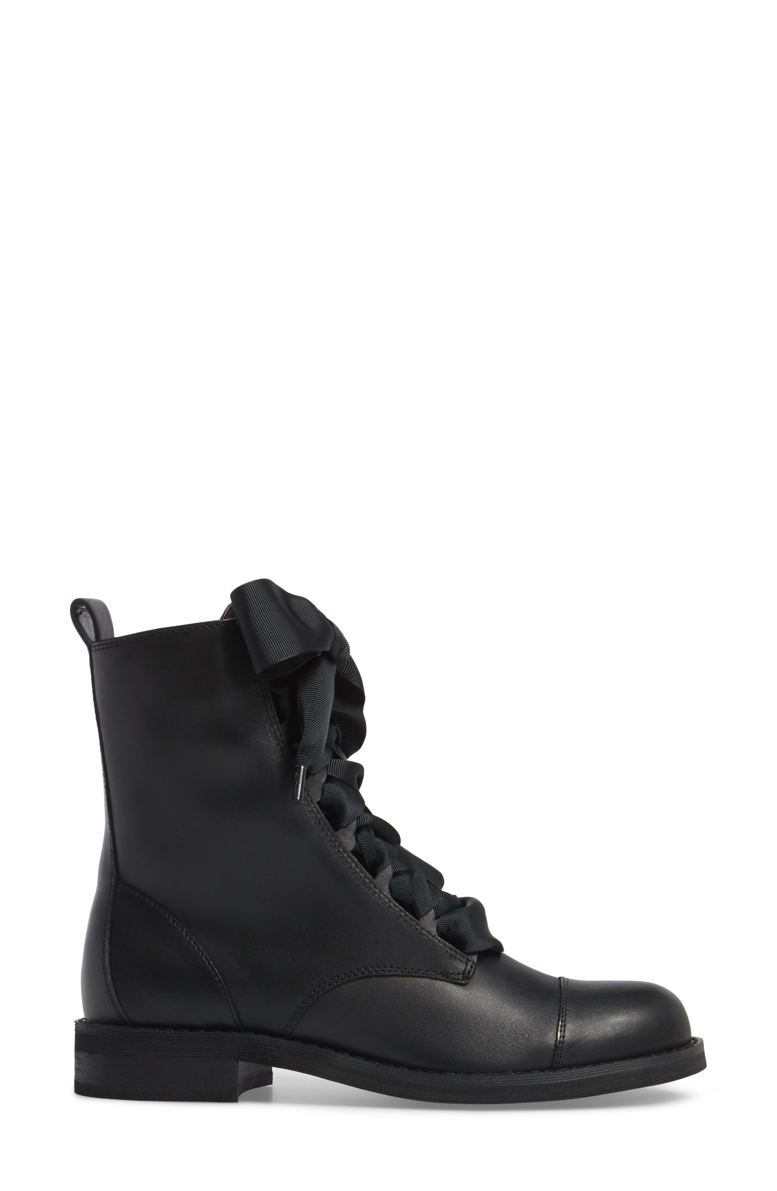Lex Lace-Up Combat Boot,                             Alternate thumbnail 4, color,                             Black Leather