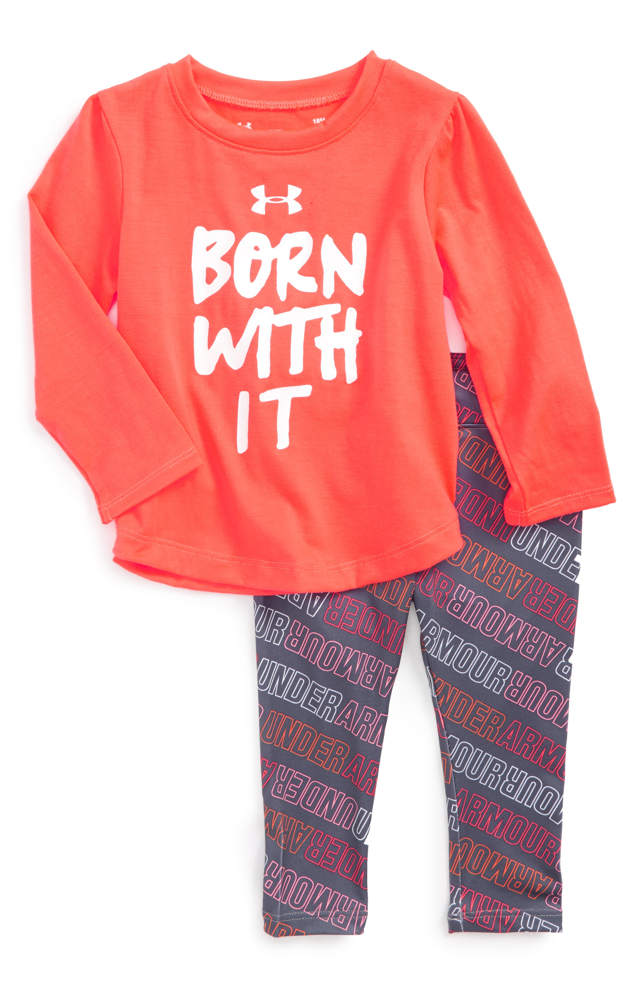 Main Image - Under Armour Born With It Tee & Pants Set (Baby Girls)