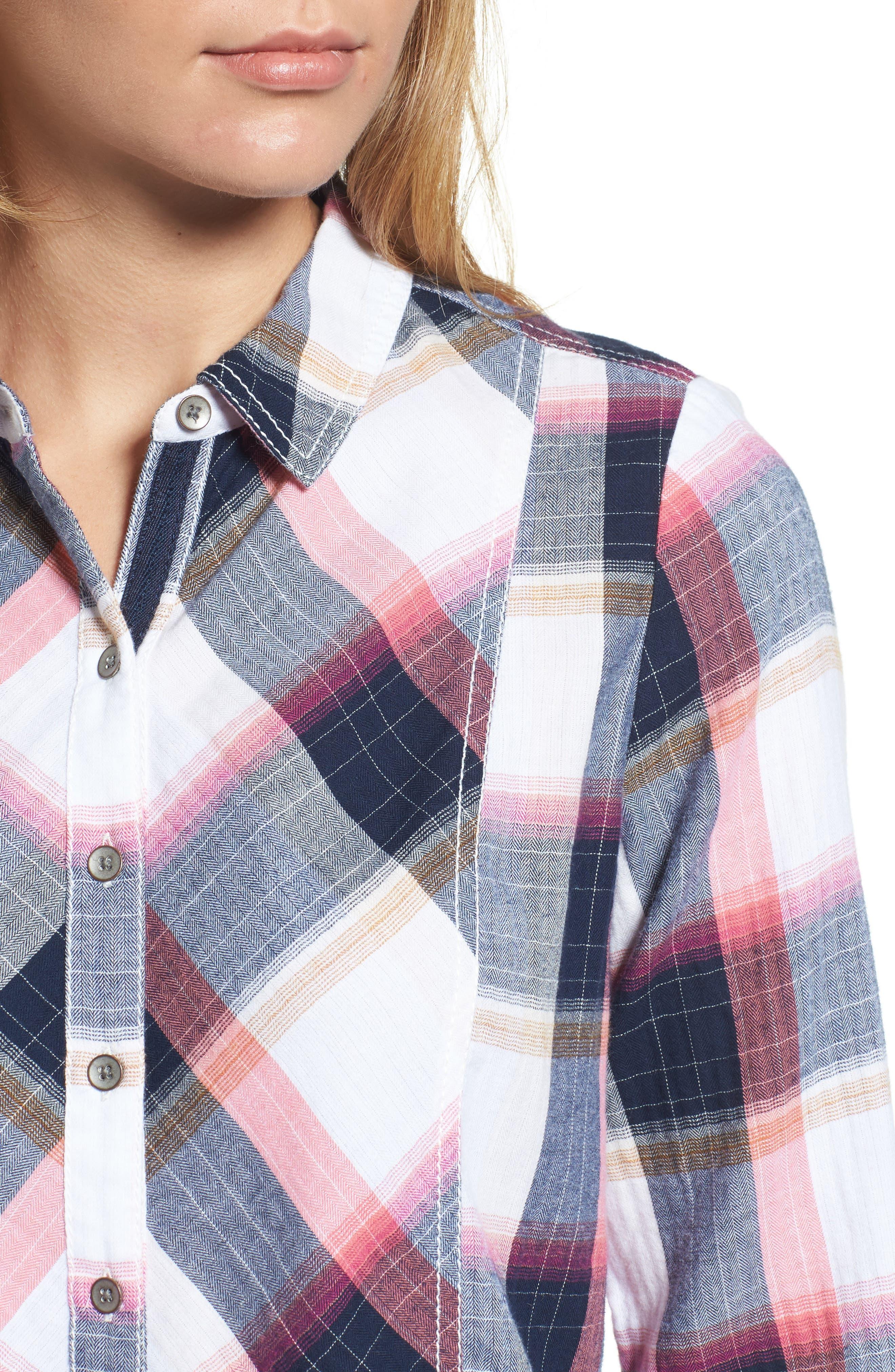 Peplum Plaid Shirt,                             Alternate thumbnail 4, color,                             Navy- Rose Plaid