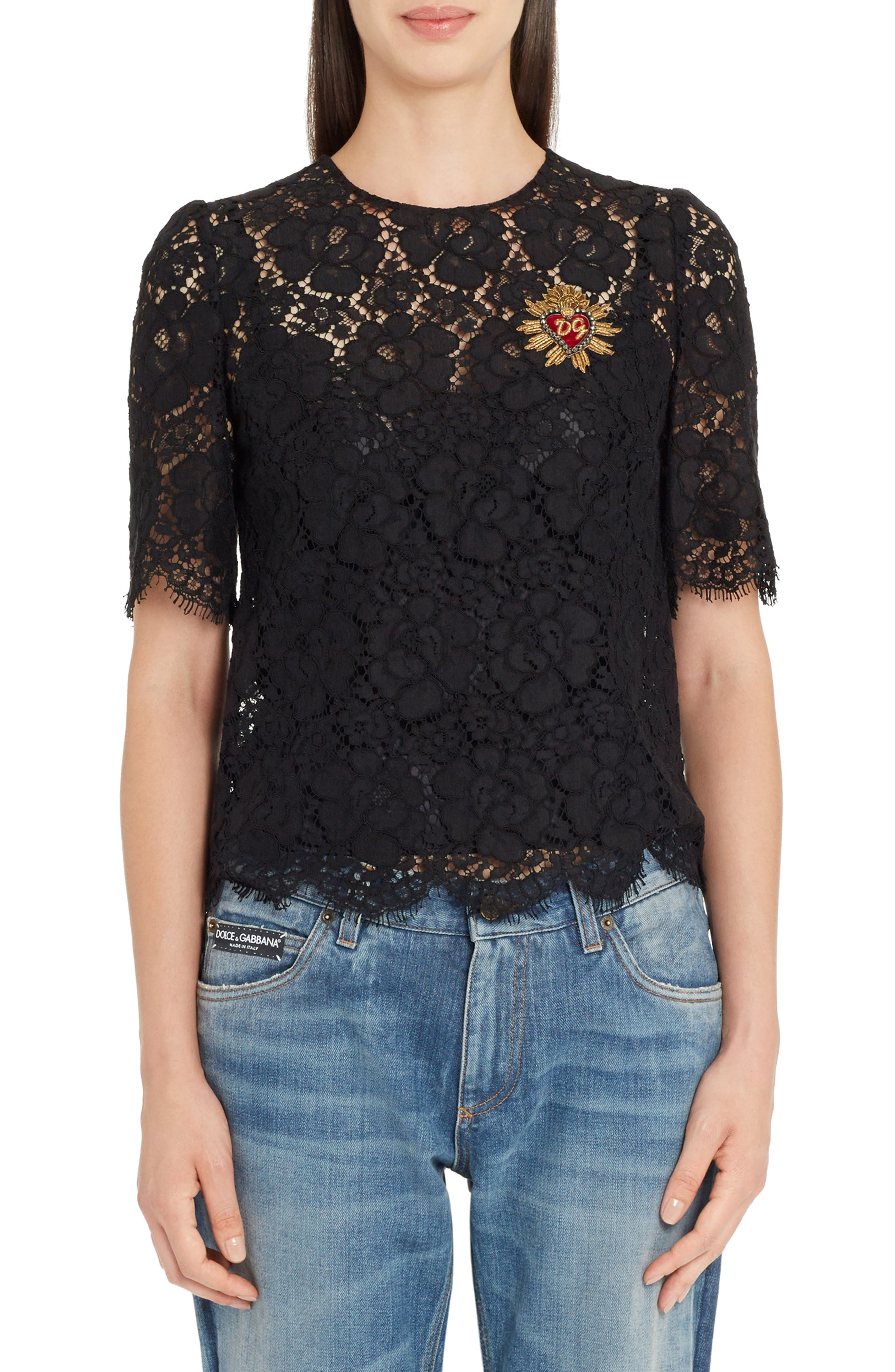 Main Image - Dolce&Gabbana Heart Patch Lace Top