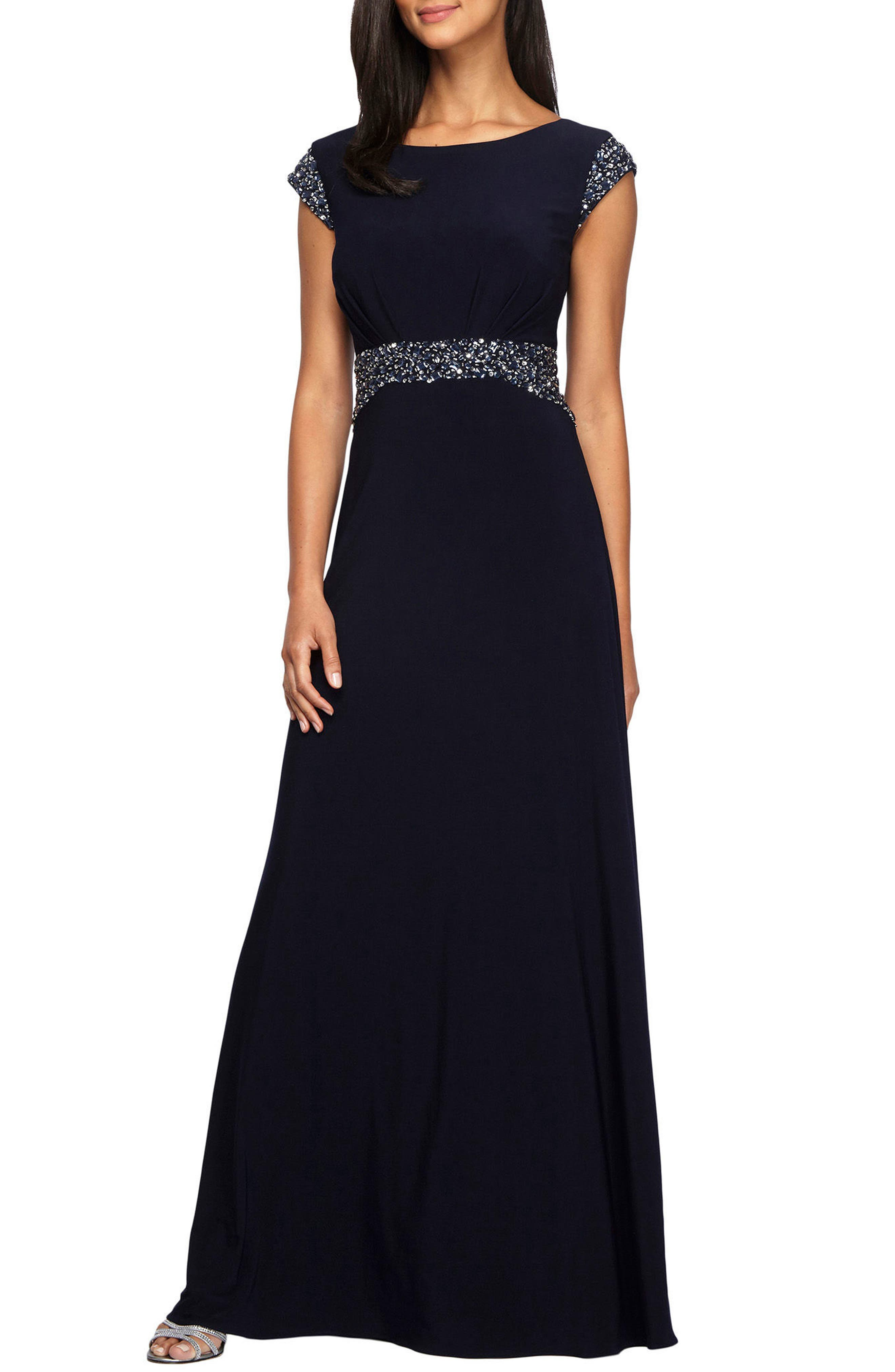 Alternate Image 1 Selected - Alex Evenings Embellished Cap Sleeve A-Line Gown