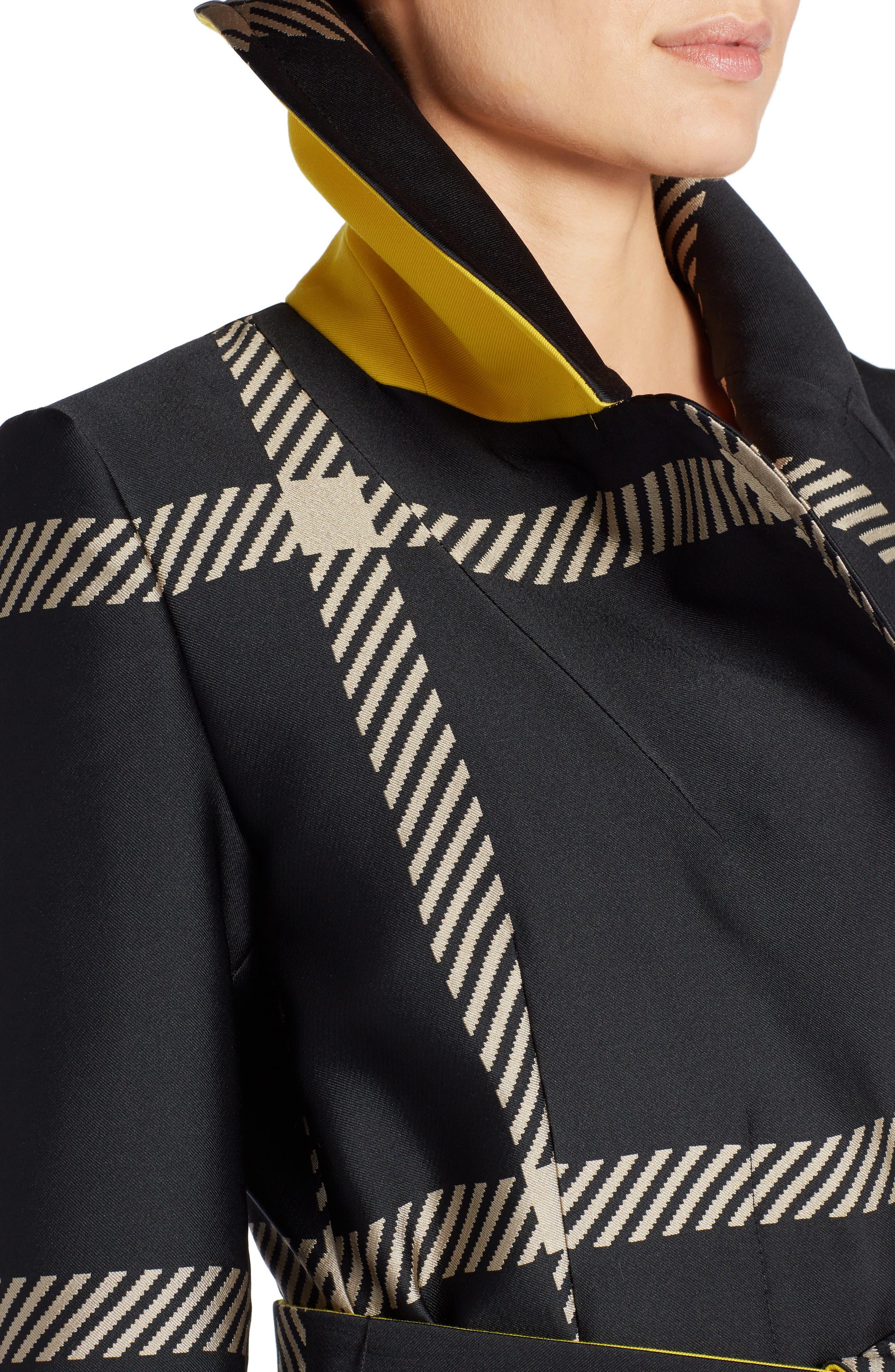 Macro Check Coat,                             Alternate thumbnail 4, color,                             Black