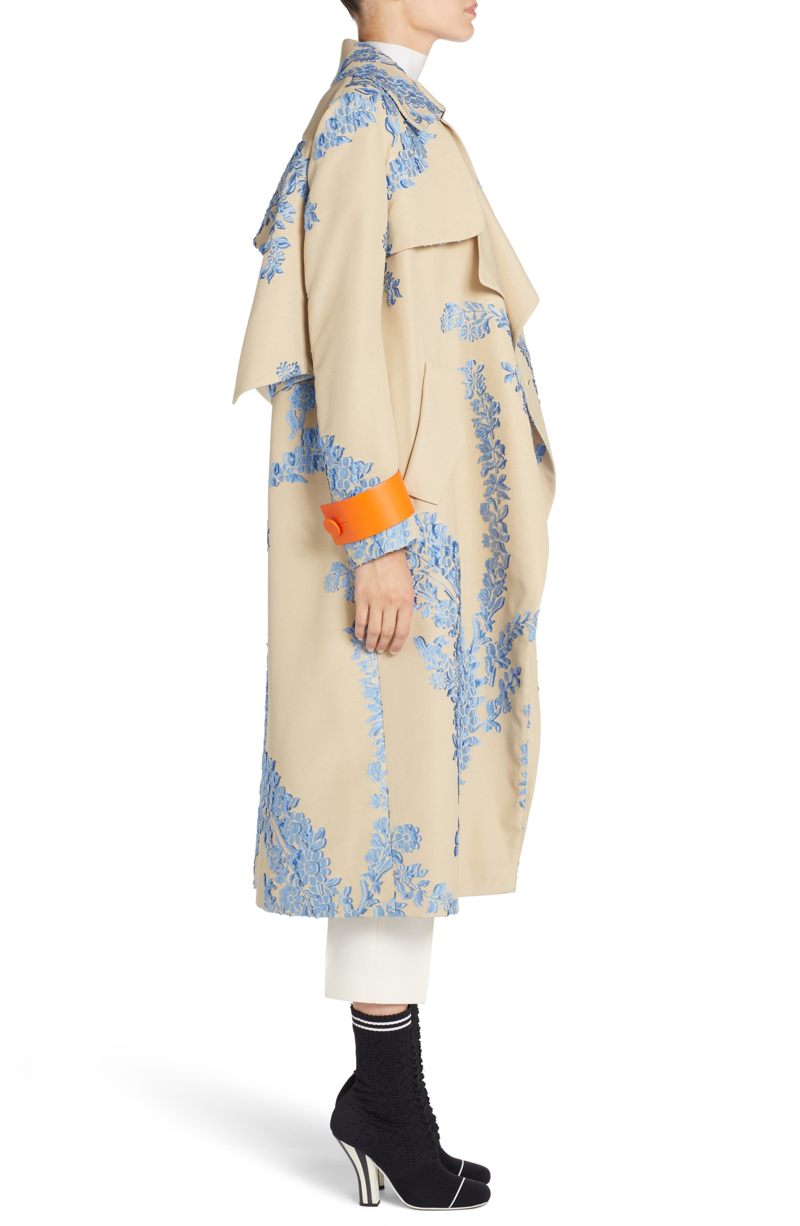 Fil Coupe Trench Coat,                             Alternate thumbnail 4, color,                             Faith Blue