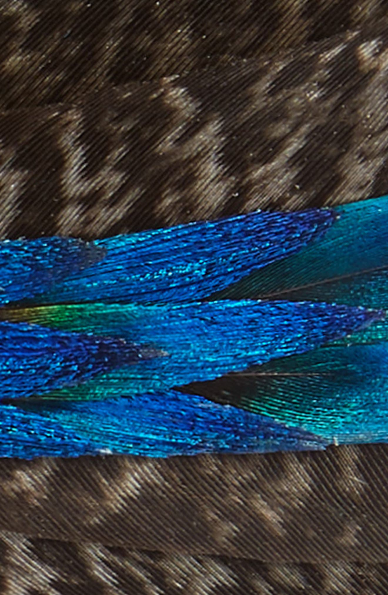 Brackish & Bell Maybank Feather Bow Tie,                             Alternate thumbnail 2, color,                             Turquoise/ Brown